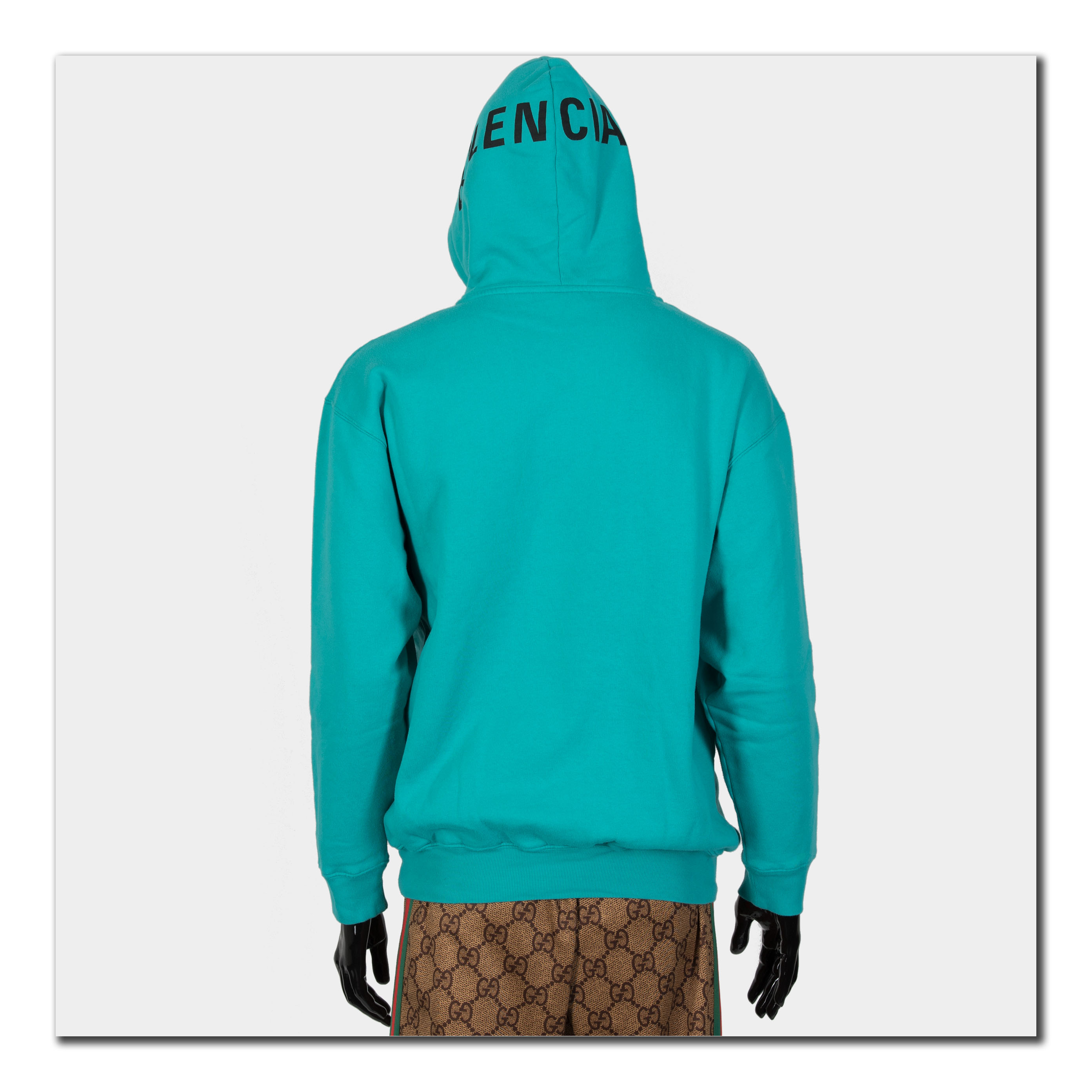 3129d6918cc2 Details about BALENCIAGA 850  Authentic New Cotton Blend Logo Print Hoodie  In Turquoise