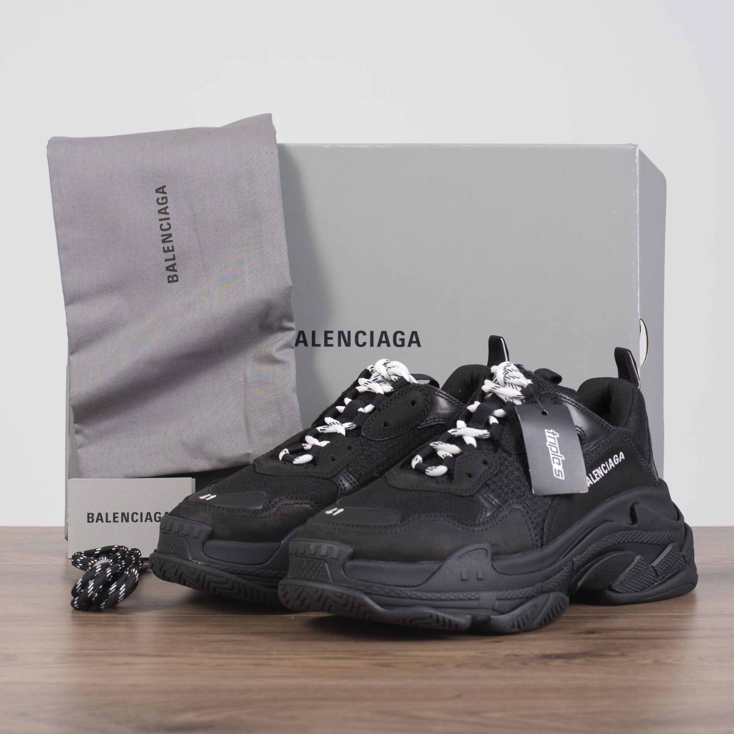 f765f70005c Details about BALENCIAGA 895  Authentic New Triple S Sneakers In Black