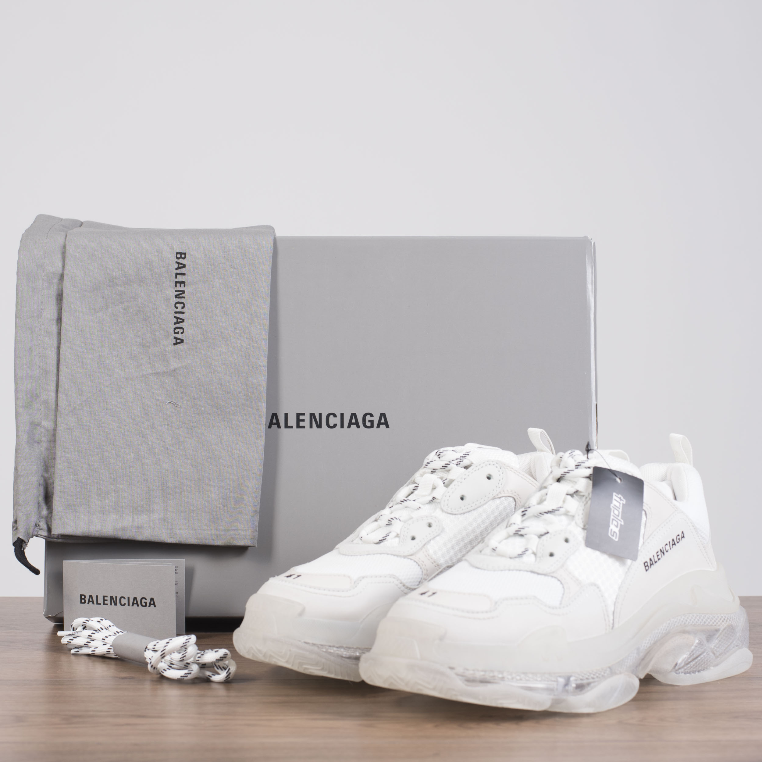 0692249e6ab Details about BALENCIAGA 995  Authentic White Triple S Sneakers With Clear  Air Bubble Soles