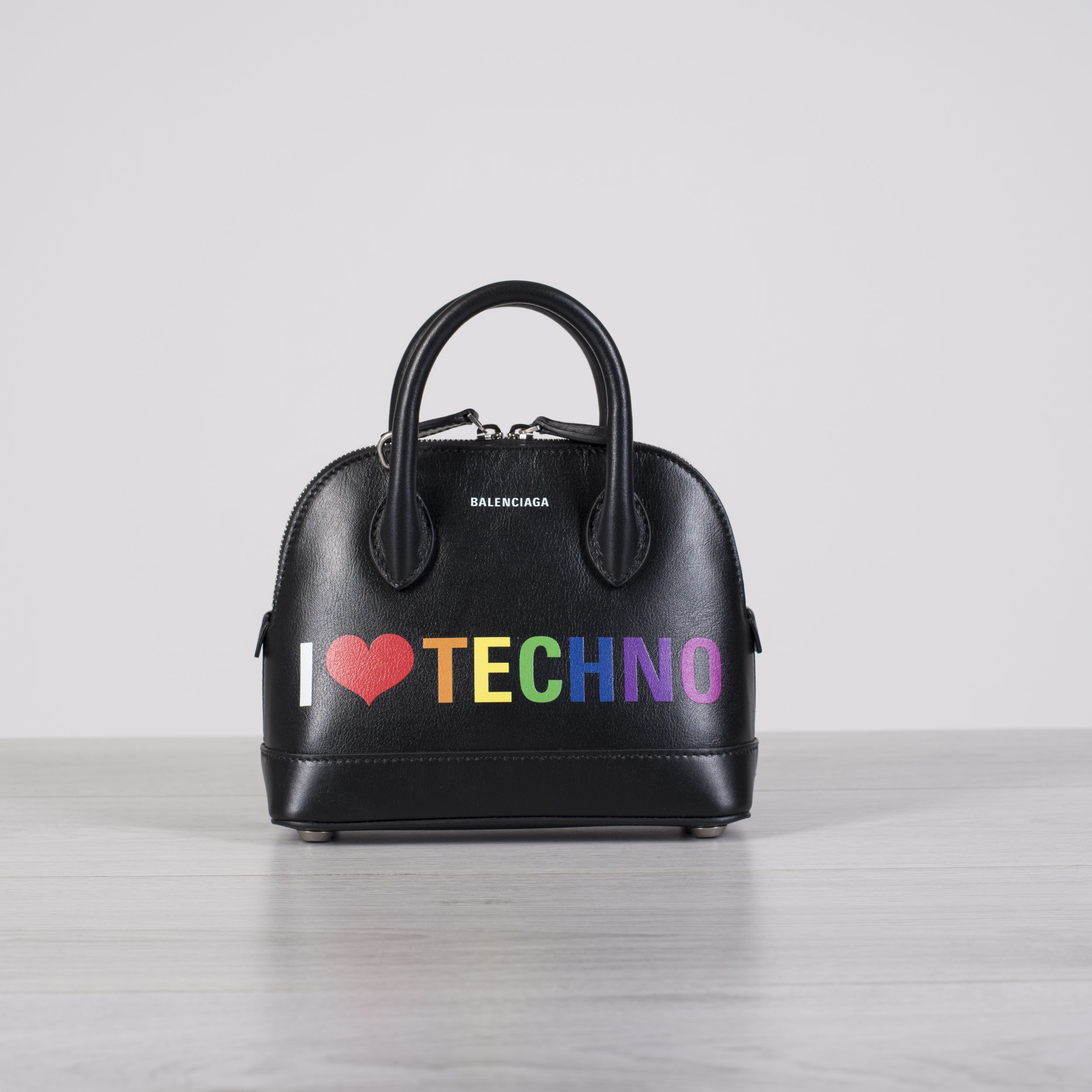 917446cb1a06fe Details about BALENCIAGA 1850$ I Love Techno Ville Top Handle XXS Mini Bag  In Black Leather