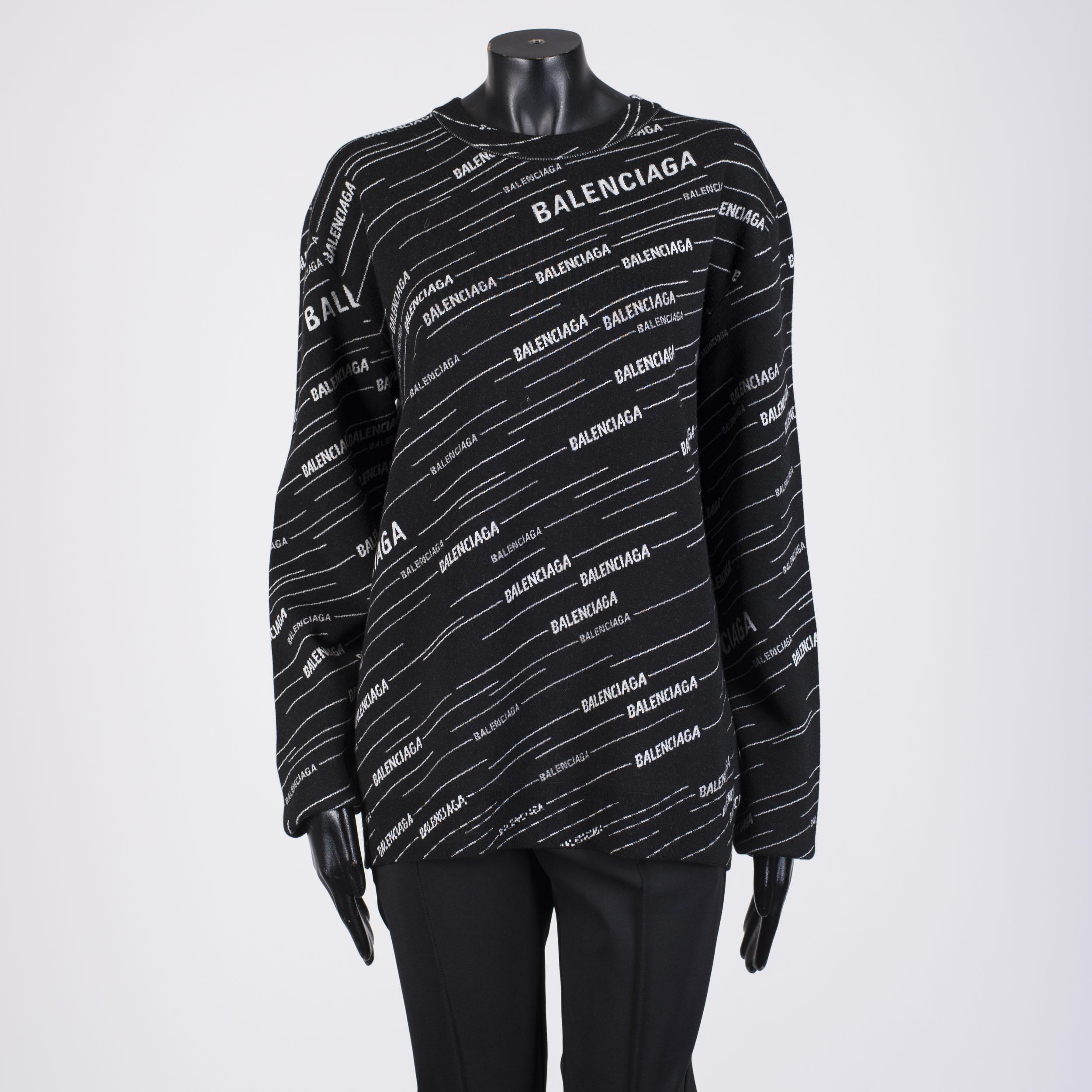 Details about BALENCIAGA 1190$ Allover Balenciaga Logo Sweater In Black & White Wool Blend