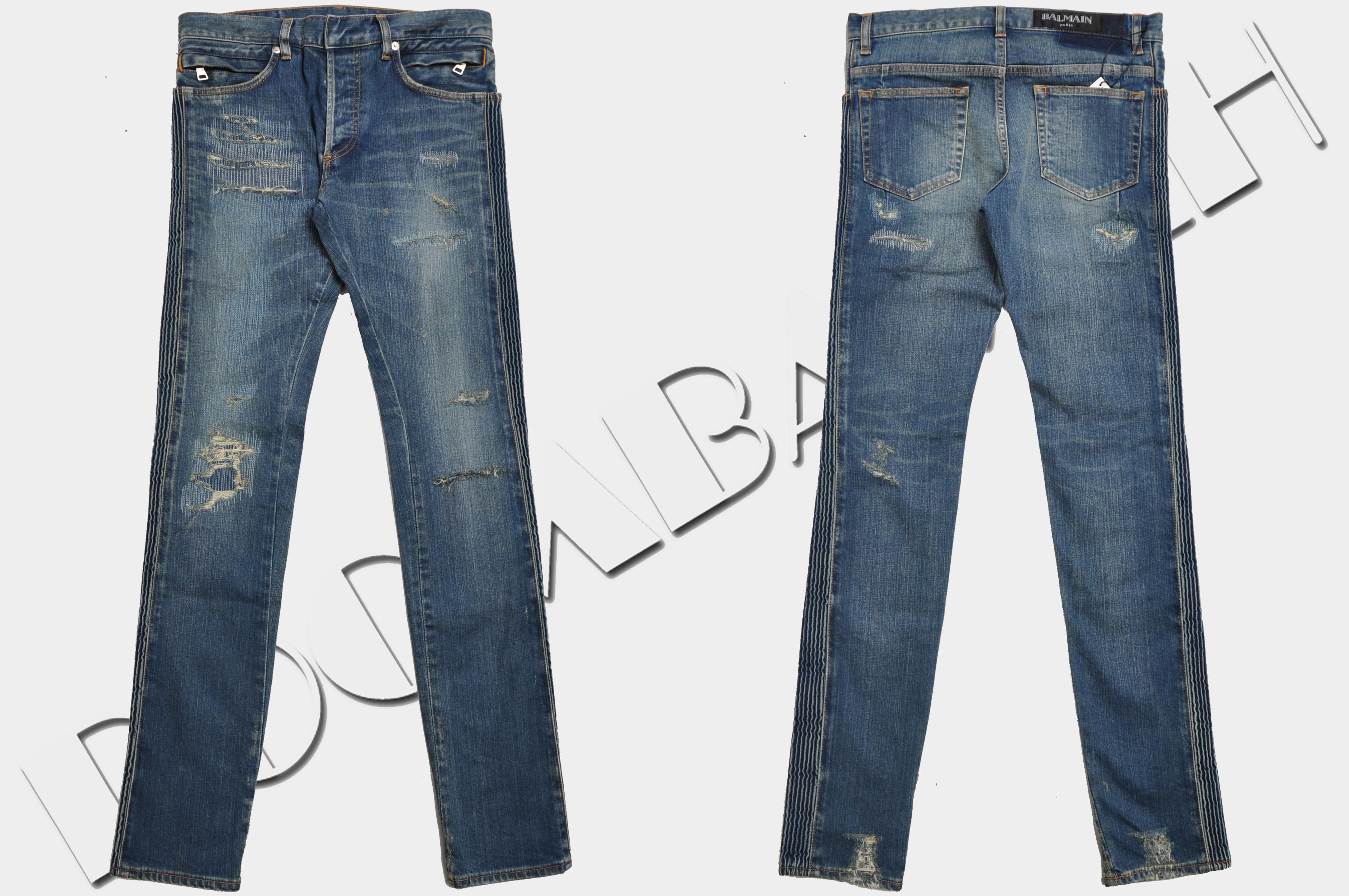 ea549975 Details about BALMAIN 1500$ Authentic New Distressed Slim Fit Skinny Blue Biker  Jeans sz 31