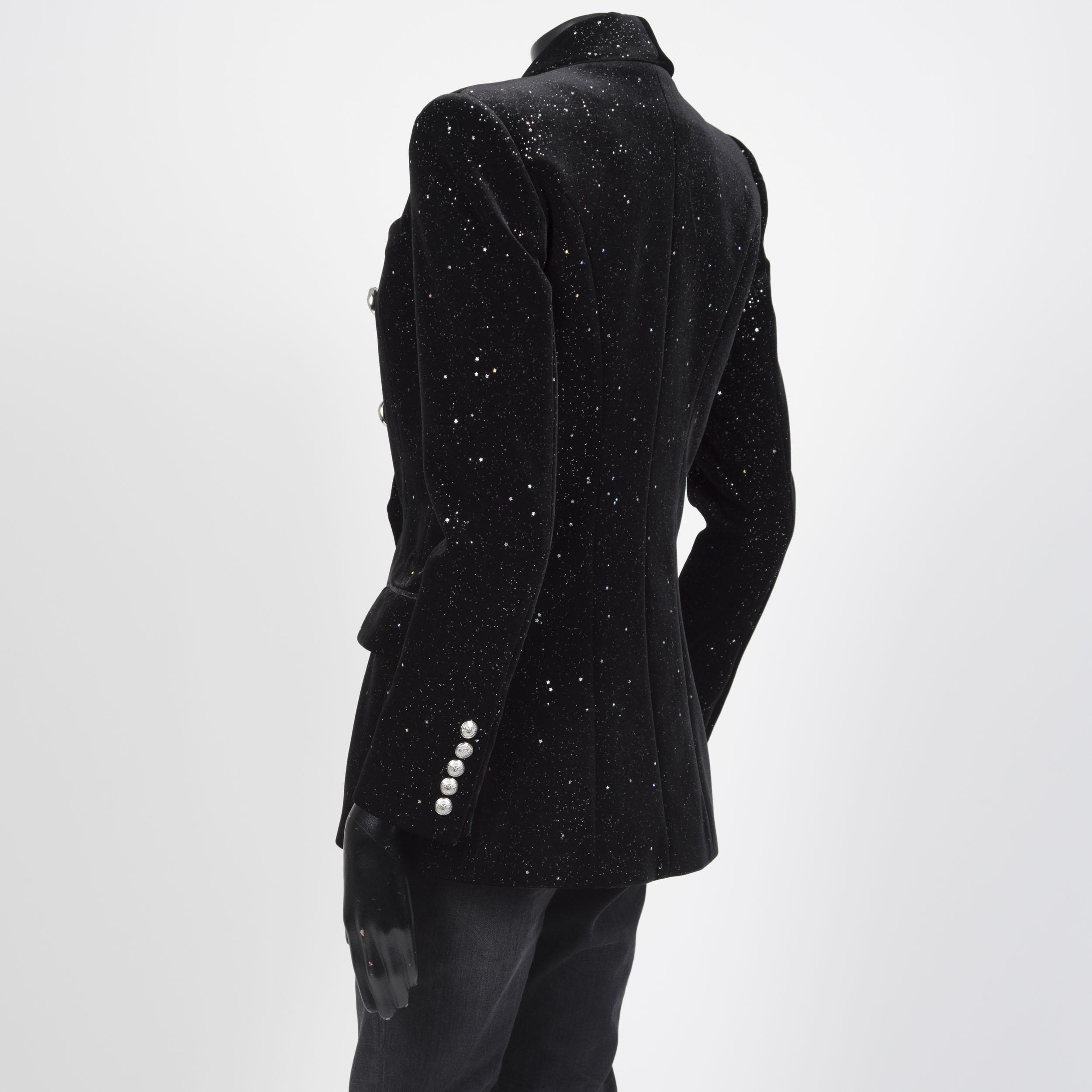 58f6a18b BALMAIN 2650$ Glitter Embellished Double Breasted Blazer In Black ...