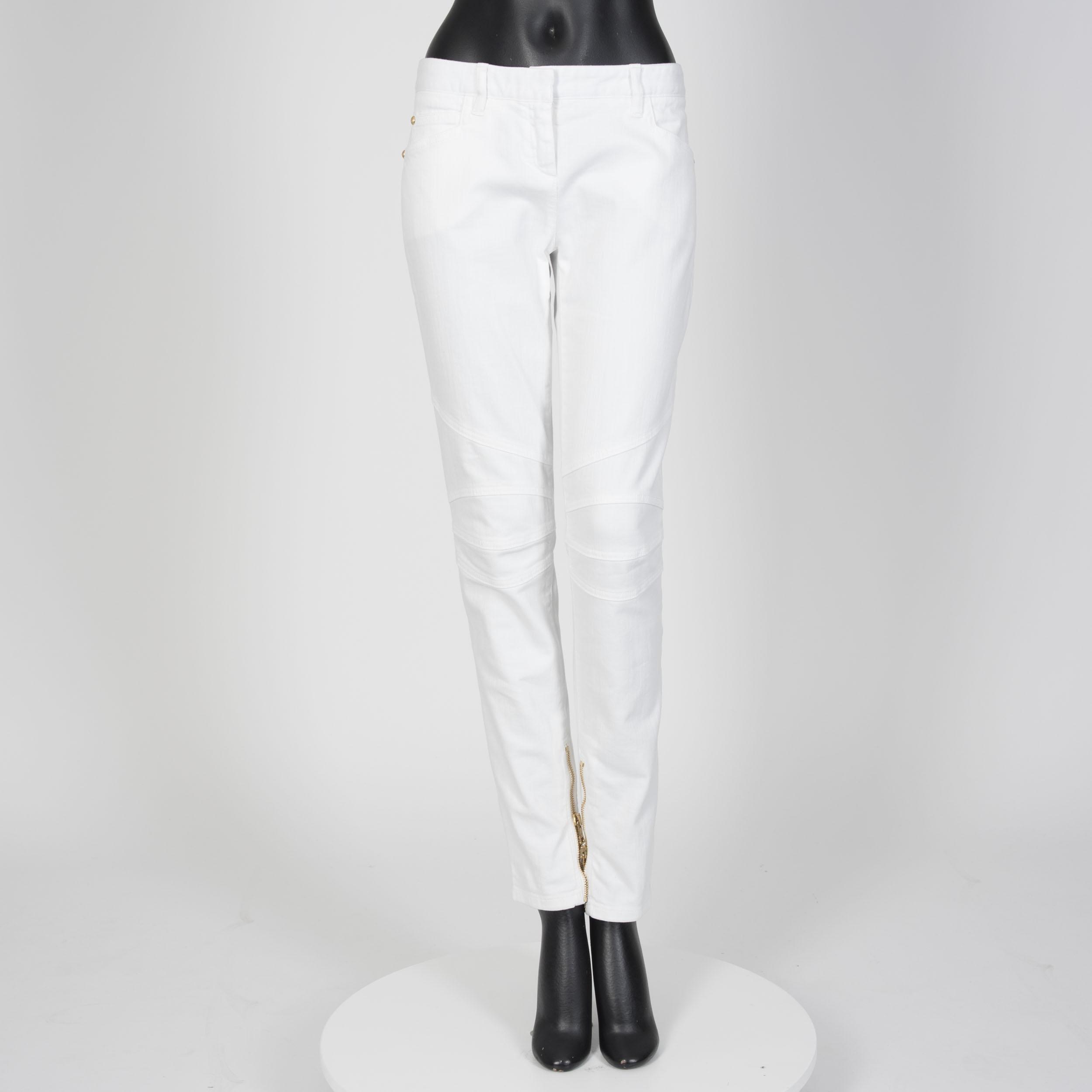 4d4e479f850 BALMAIN 990$ Authentic New White Cotton Mid Rise Skinny Biker Jeans ...