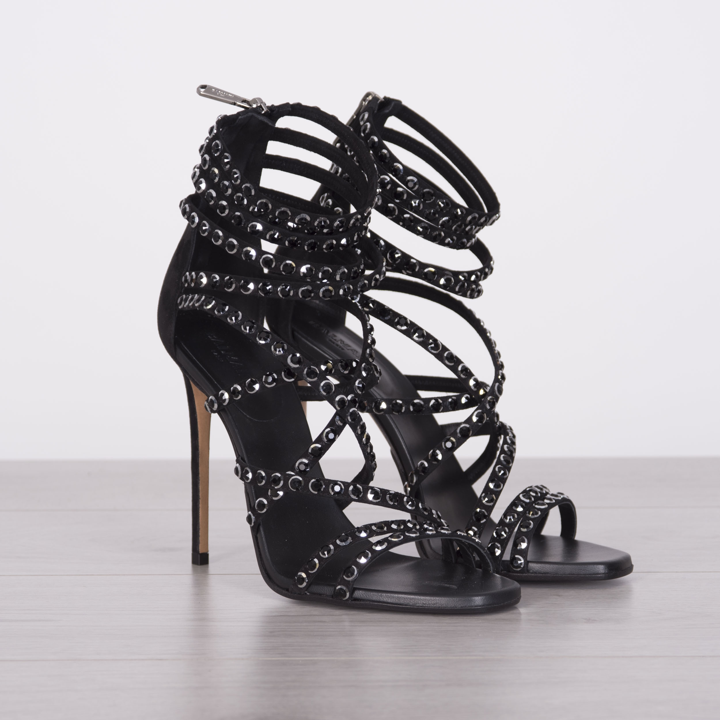 843e0aa9f03e Details about BALMAIN 1490  Authentic New Black Crystal Embellished Strappy  High Heel Sandals
