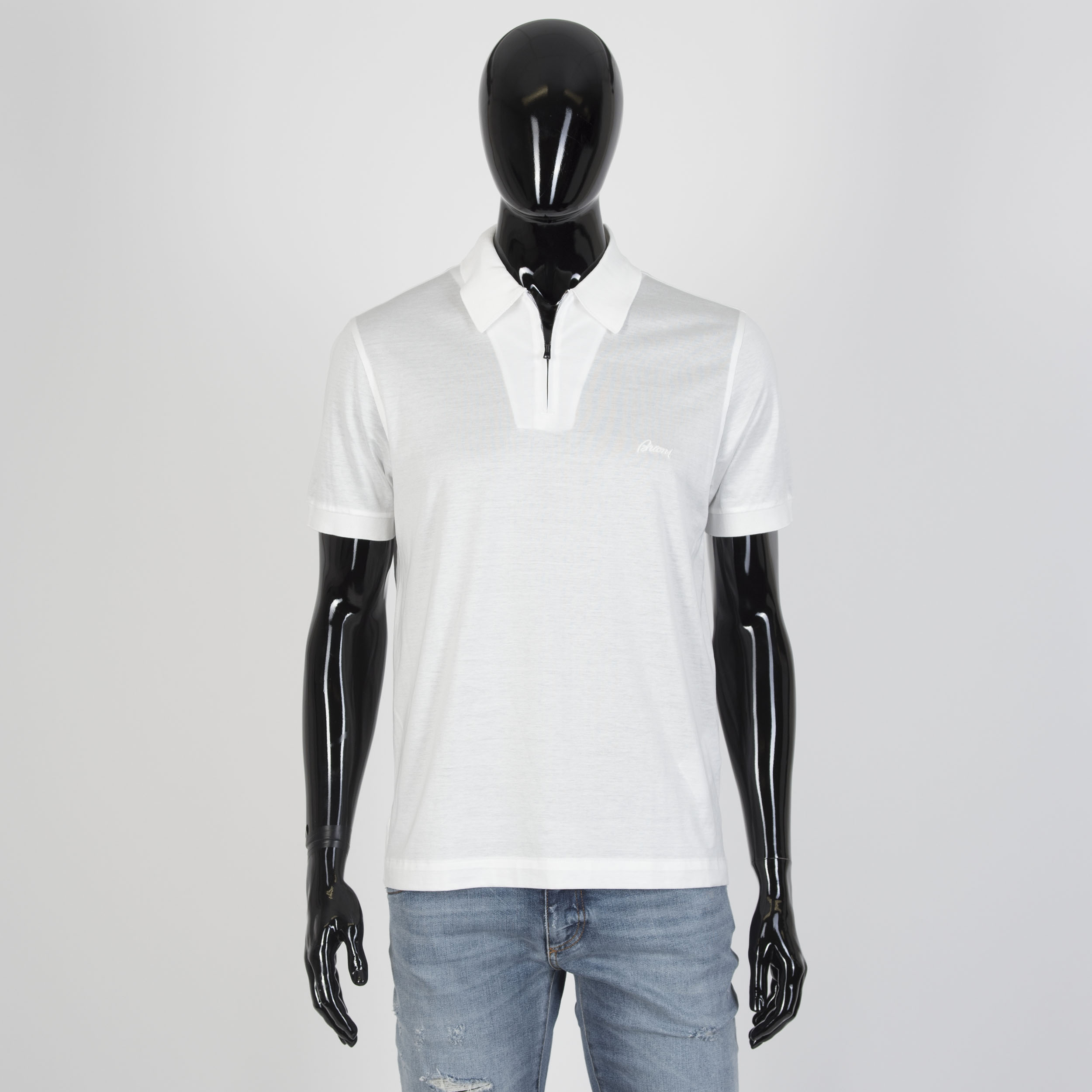 3e75f966291 Details about BRIONI 455$ Authentic New Zip Polo Neck Shirt In White Cotton  Jersey
