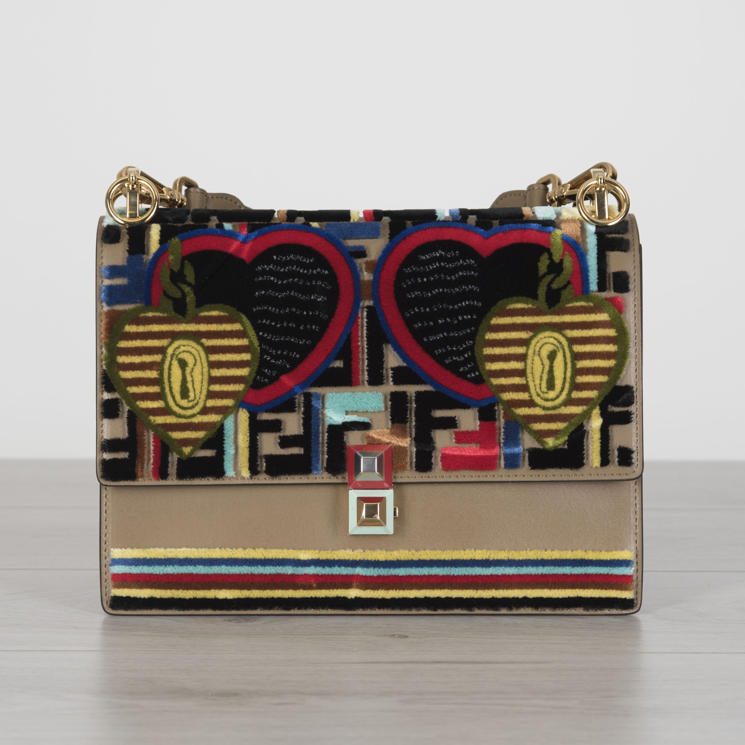 5b3194af828b Details about FENDI 3690  Medium Kan I Liberty With Velvet FF Logo  Embroidery In Brown Leather