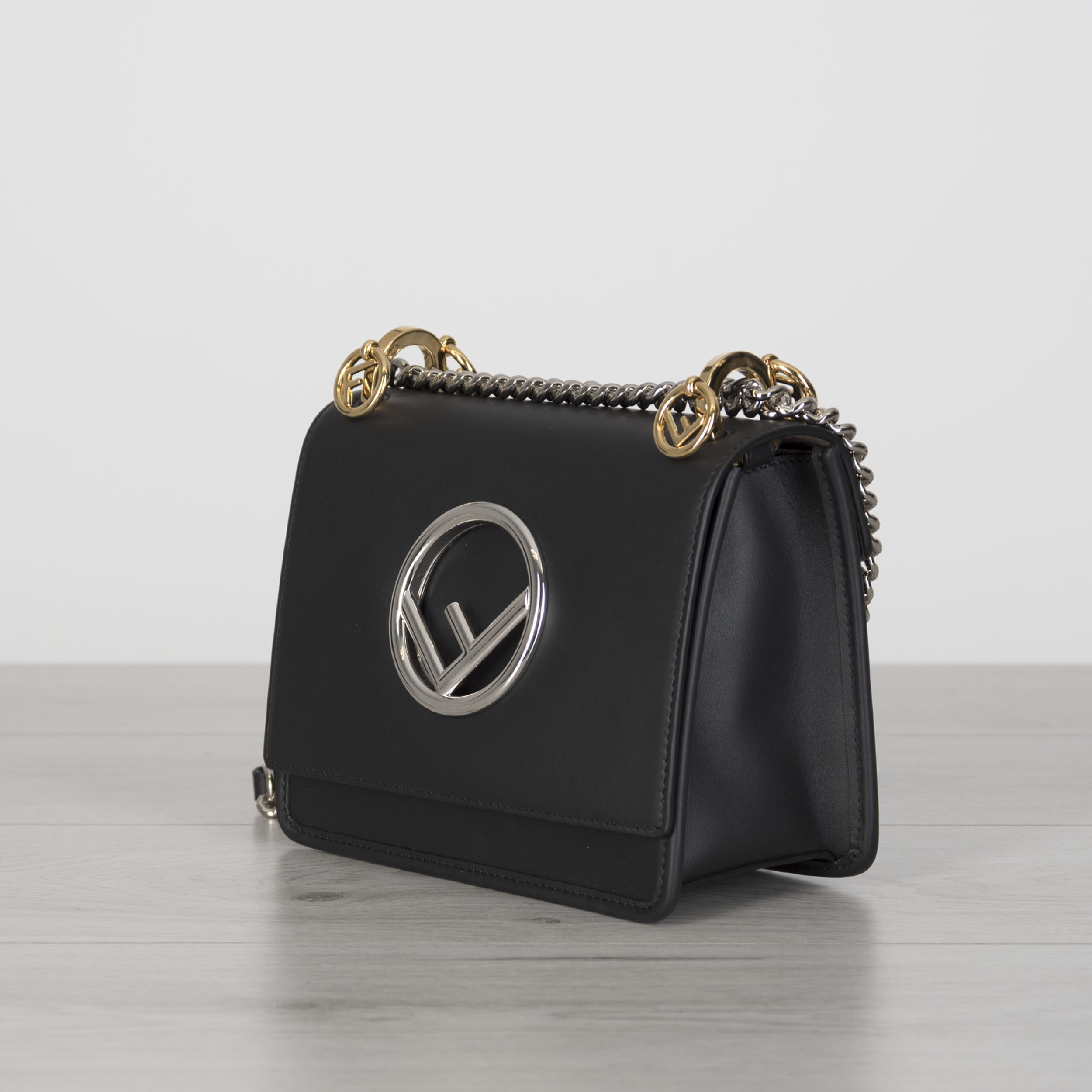 caeb0197b56f FENDI 1980  Mini Kan I F Bag In Black Leather With New Fendi Logo