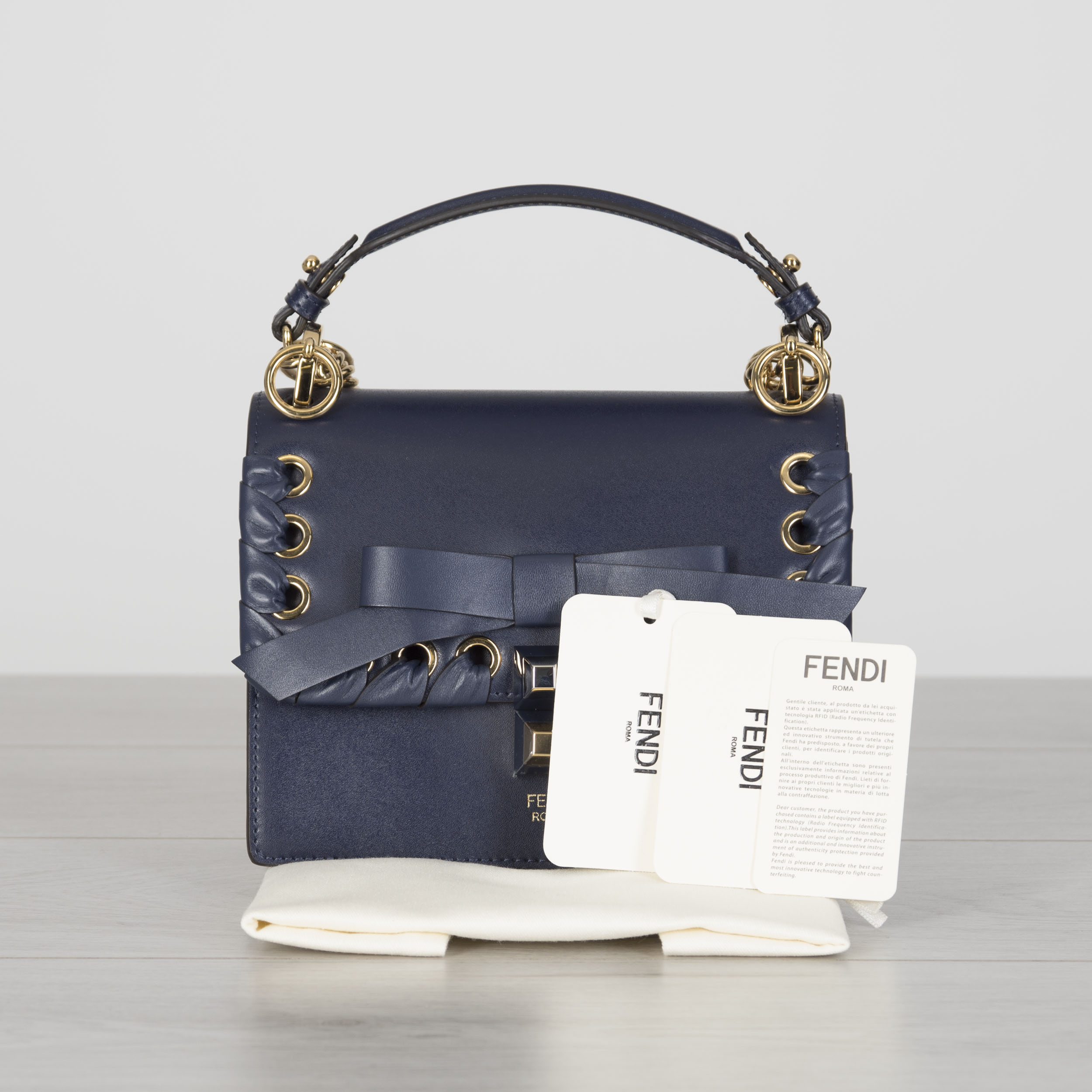 4d4030b71613 Details about FENDI 2390  Mini Kan I Bag In Blue Leather With Woven Bow  Detail