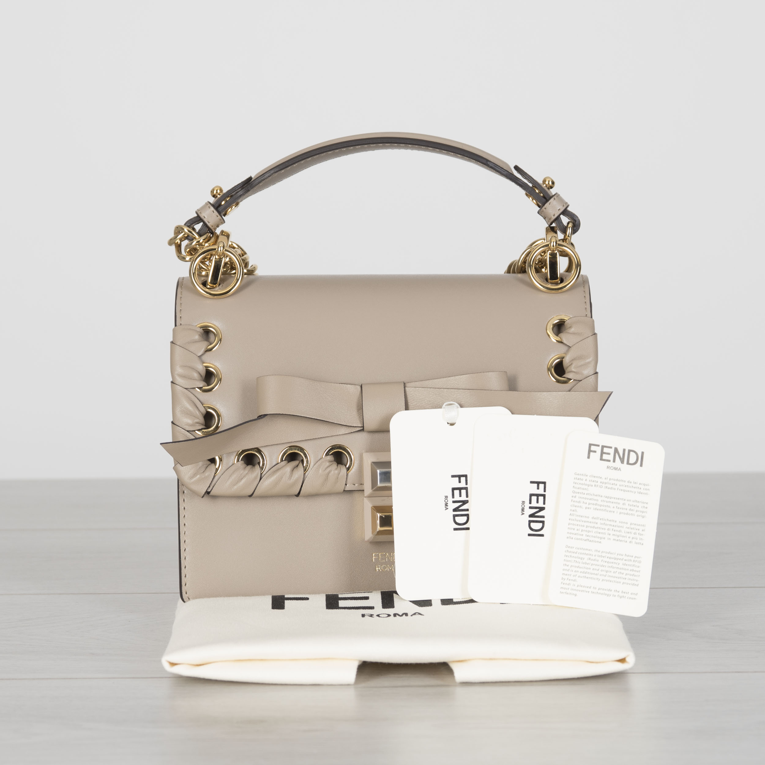 86e0acfccb34 Details about FENDI 2390  Mini Kan I Bag In Dove Grey Leather With Woven  Bow Detail
