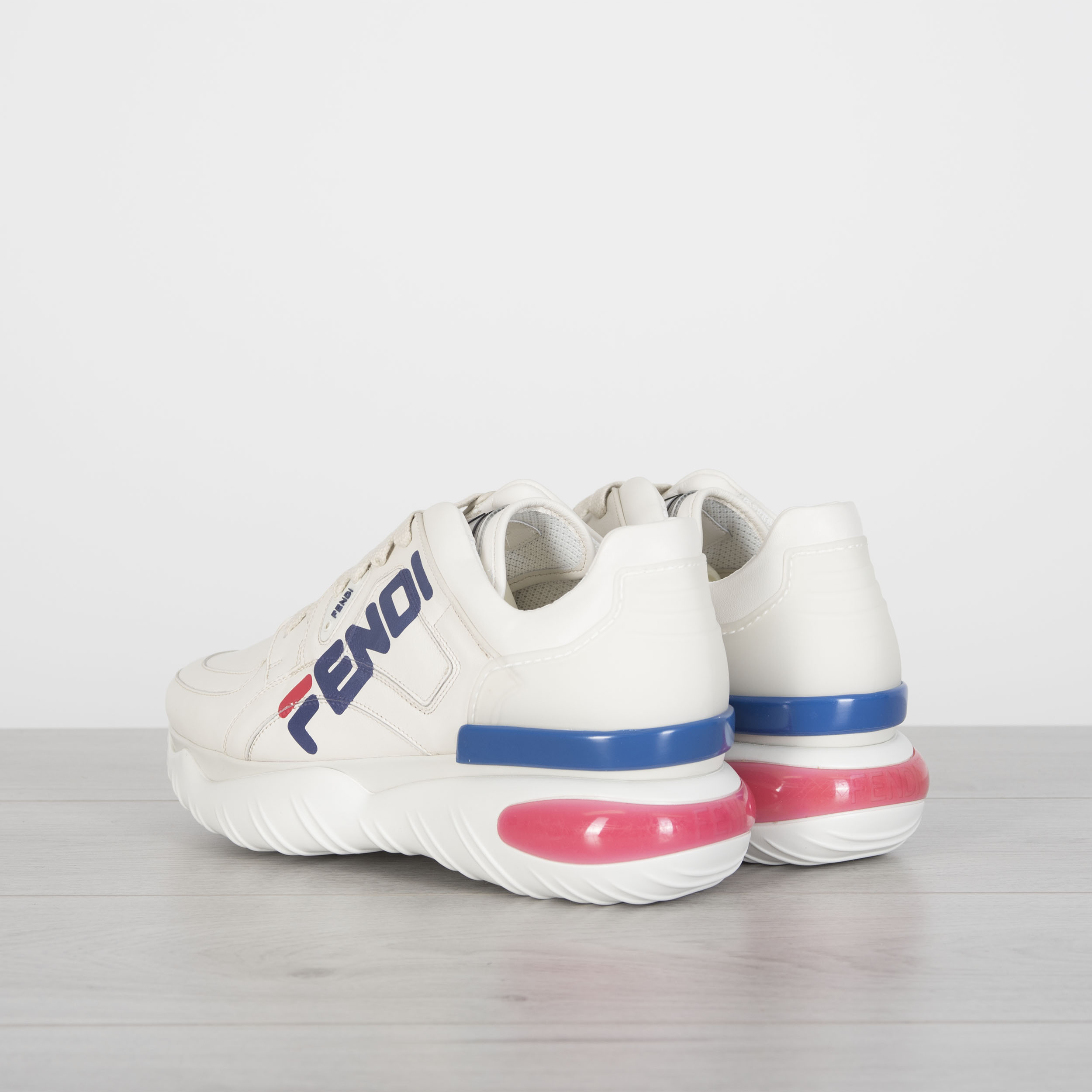 Details about FENDI x FILA 950$ Off White Leather Low Top Sneakers With Fendi Mania Logo