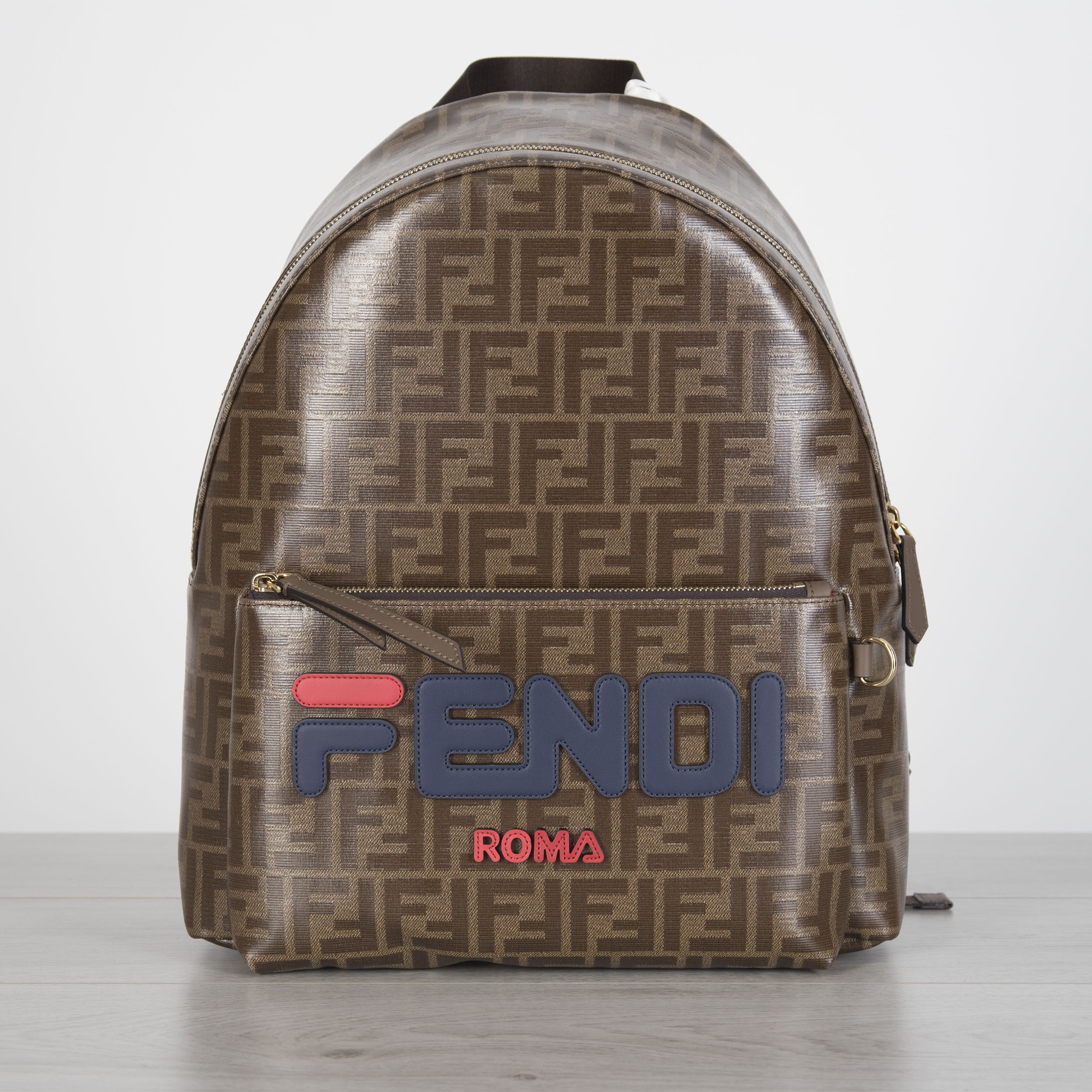 b5bd3ae56fdf Details about FENDI 2190  FF Logo Motif Backpack With FENDI MANIA Embroidery