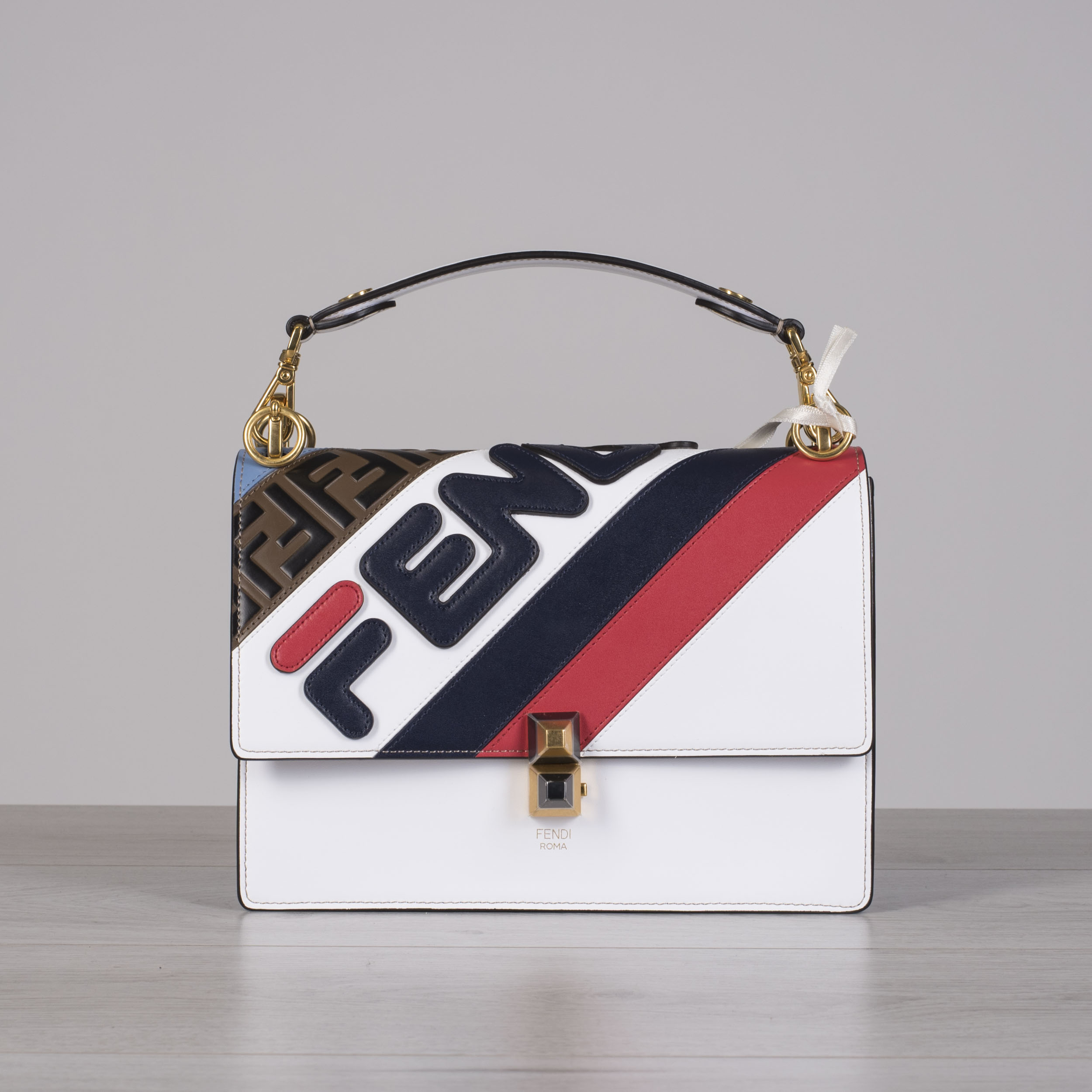 6ad46323a6dc Details about FENDI x FILA 2890  Multi Color Kan I Bag With Fendi Logo  Mania   FF Stripe