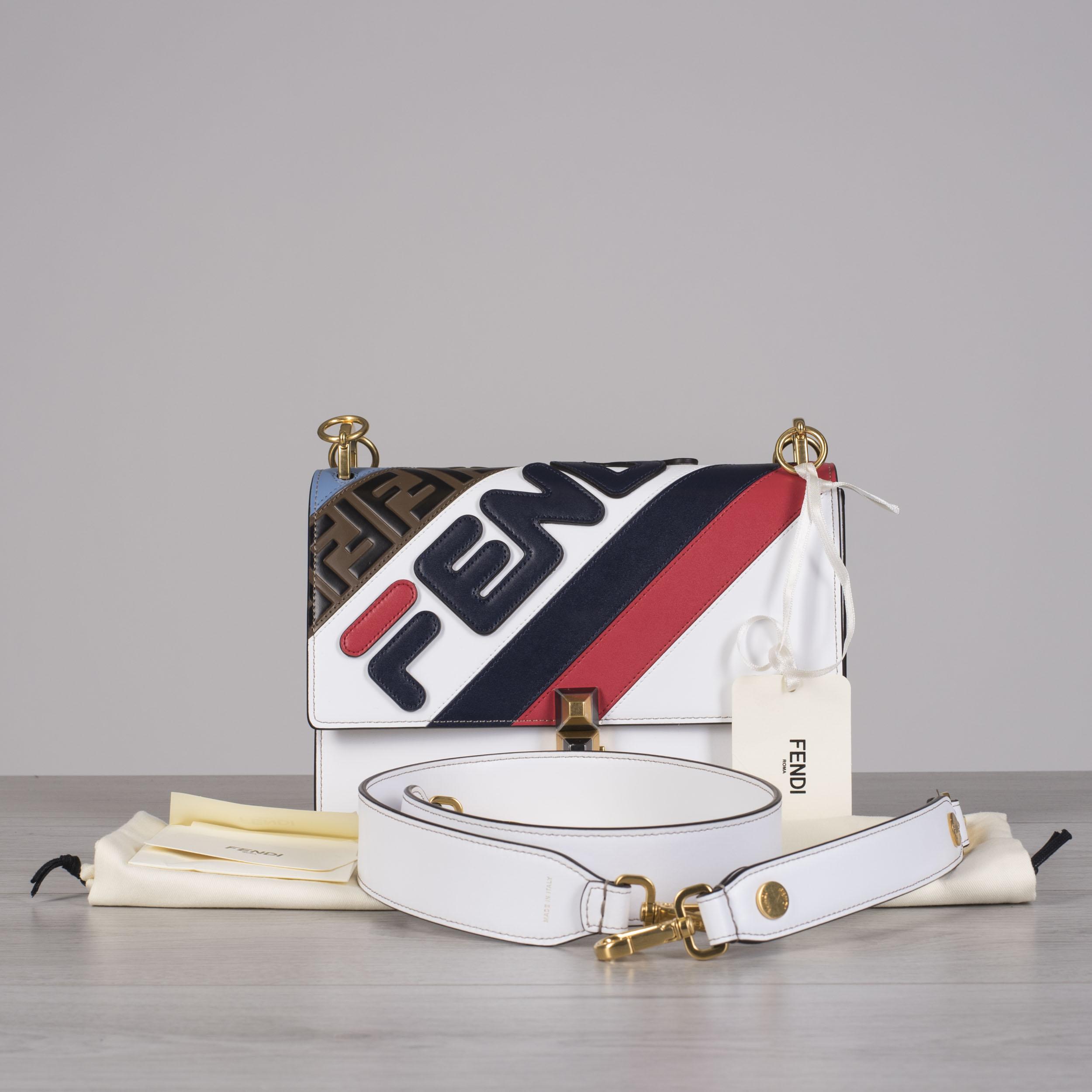 5db4a5f7ce66 Details about FENDI x FILA 2890  Multi Color Kan I Bag With Fendi Logo  Mania   FF Stripe