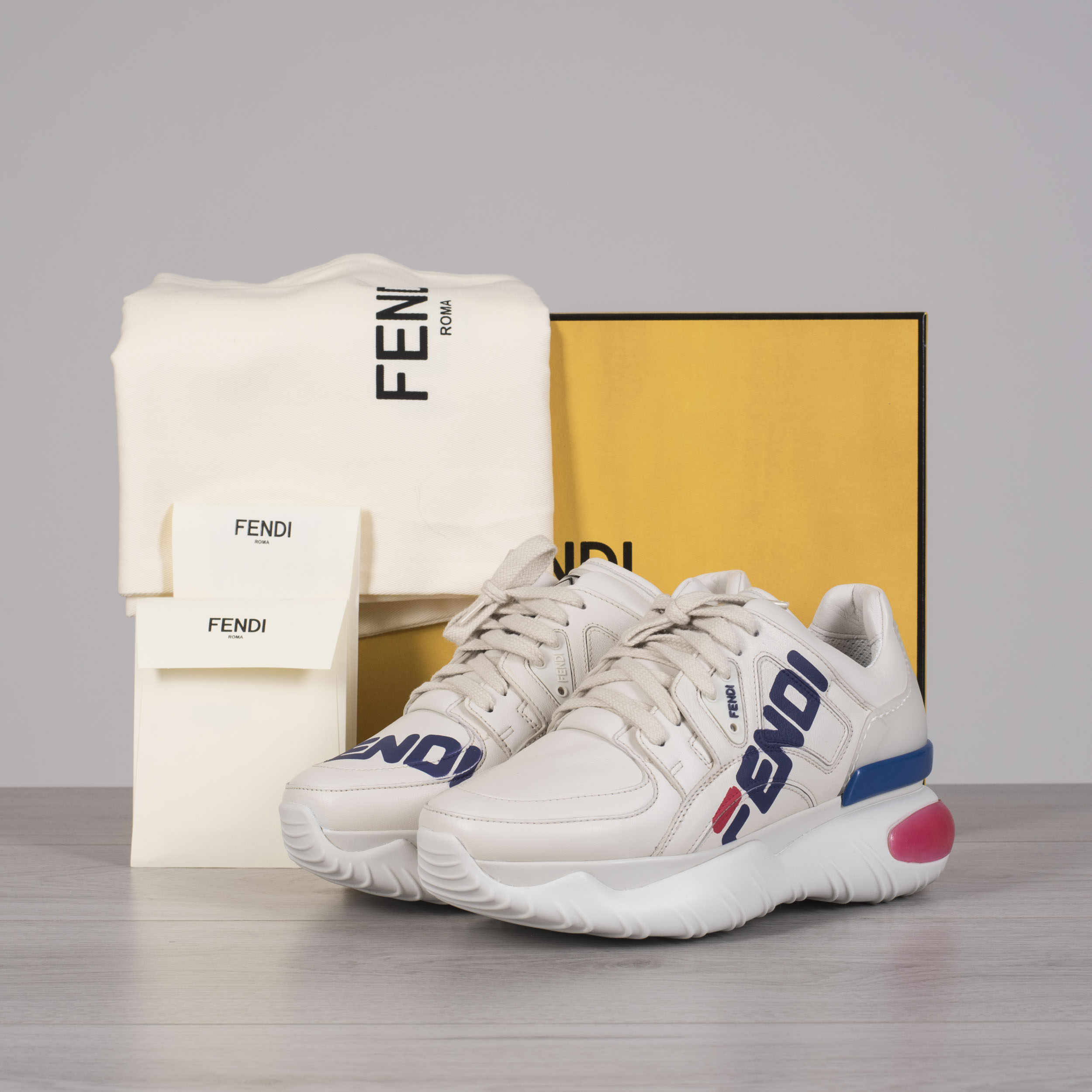 Details about FENDI x FILA 950$ Off White Leather Logo Mania Women's Sneakers
