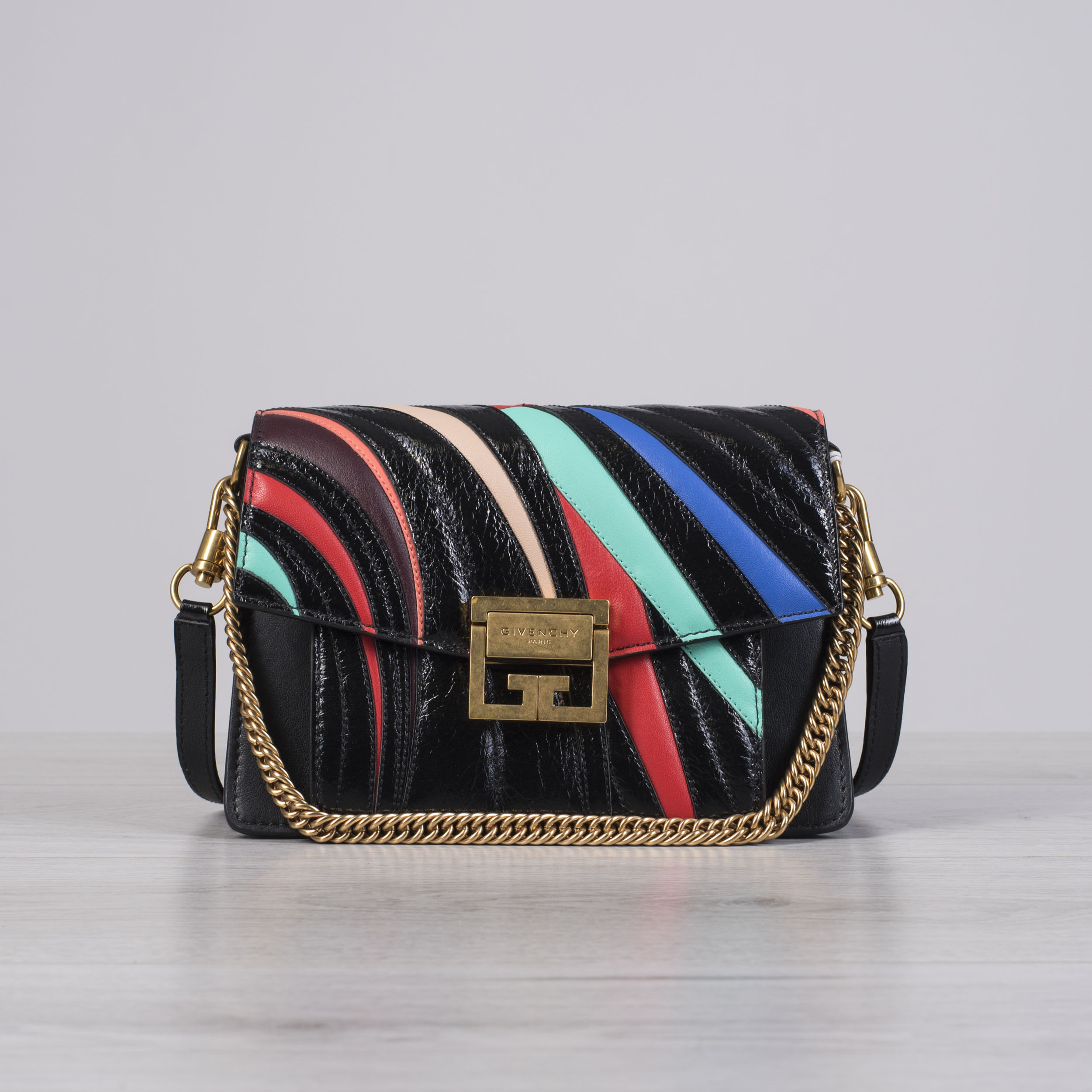 393fa25bf5 Details about GIVENCHY 3590$ Small GV3 Bag In Crackled Black Leather With  Multi Color Stripes