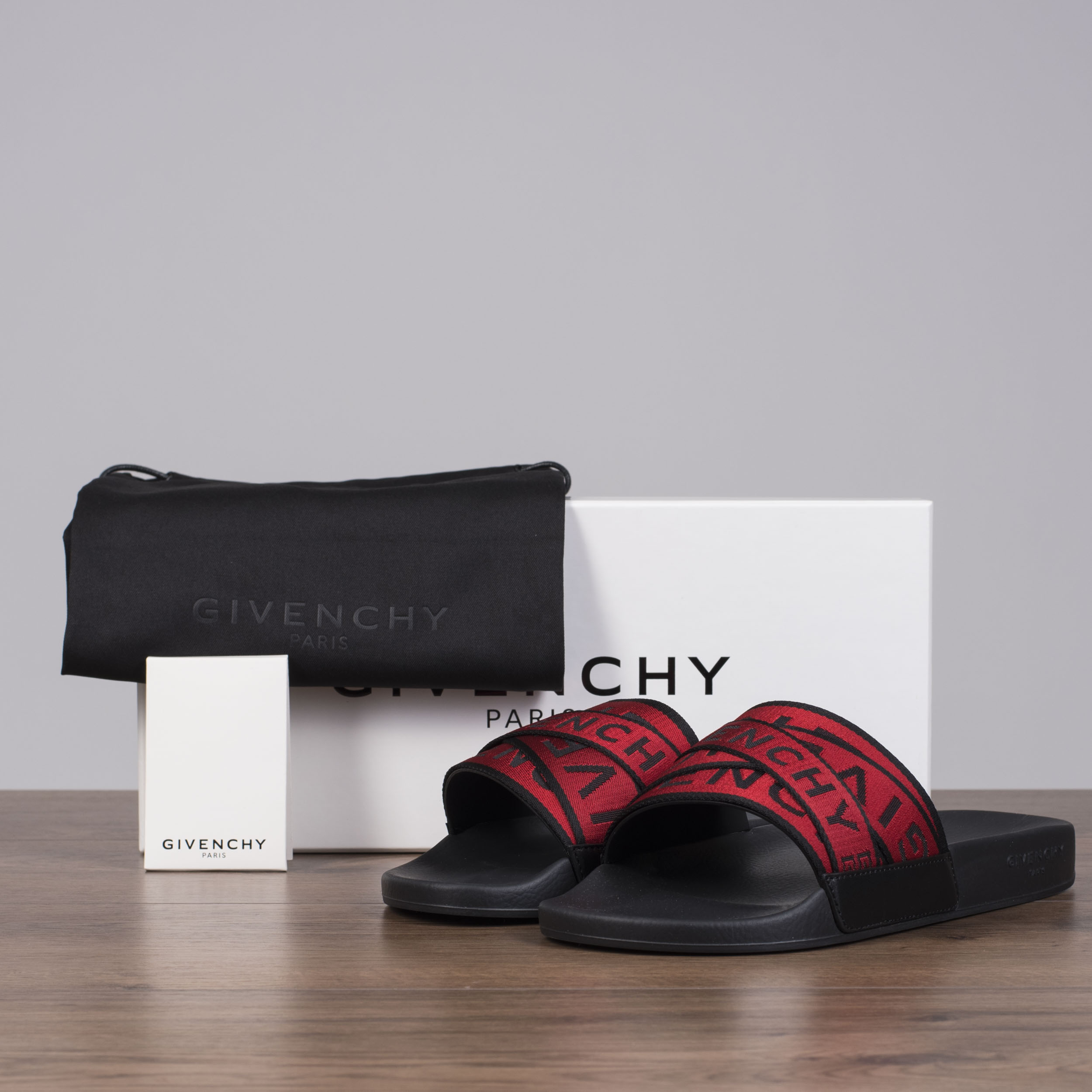 a6bd2b970dc Details about GIVENCHY 375  4G Webbing Slide Sandals In Black   Red Rubber