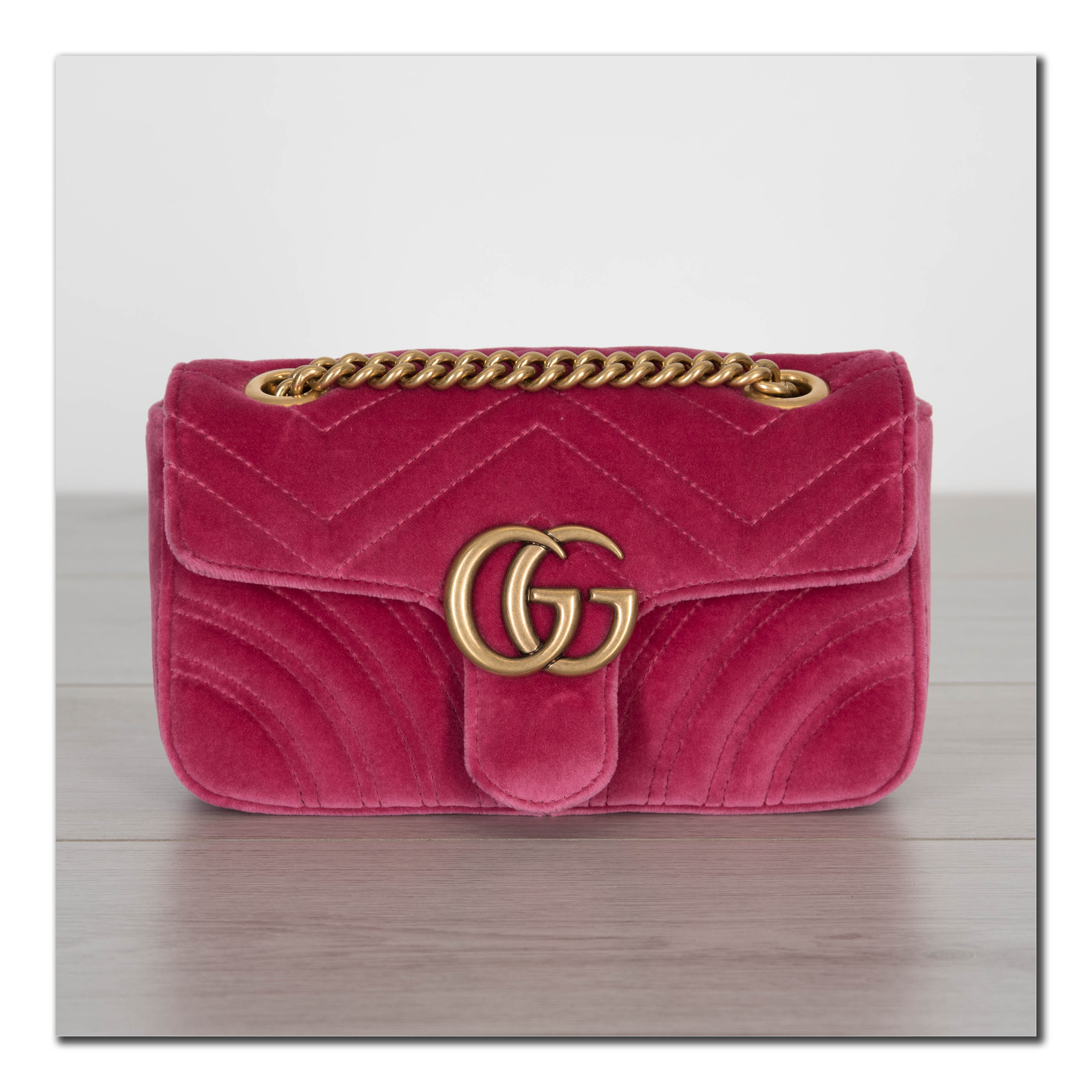 738b5dd50ef4 GUCCI 1590$ Authentic New Mini GG Marmont Shoulder Bag In Pink ...