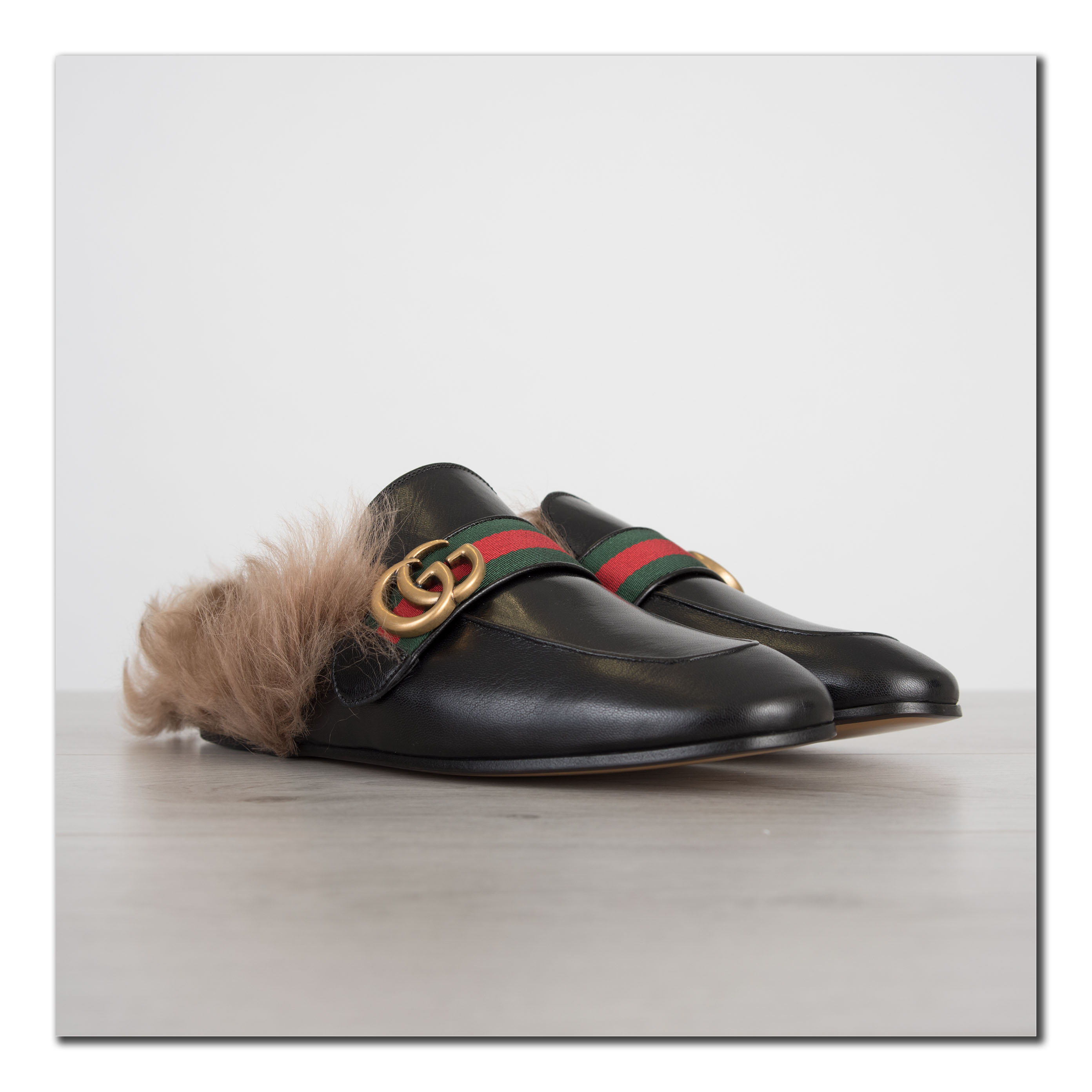 4bbe943c1 Details about GUCCI 995$ Authentic New Black Princetown Leather Slipper  With Double G
