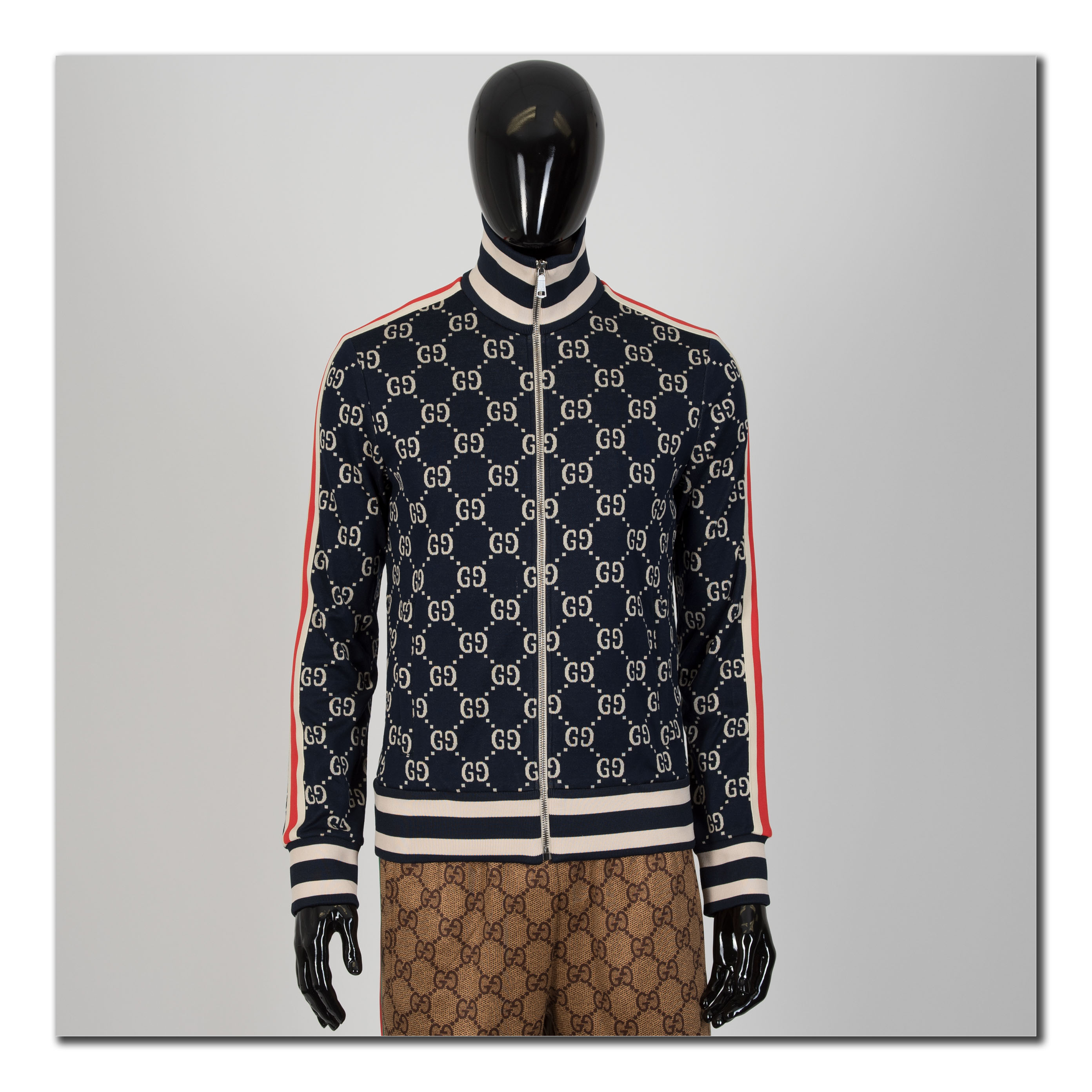 976203b8a06 GUCCI 1980  Authentic New GG Jacquard Cotton Zip Up Jacket