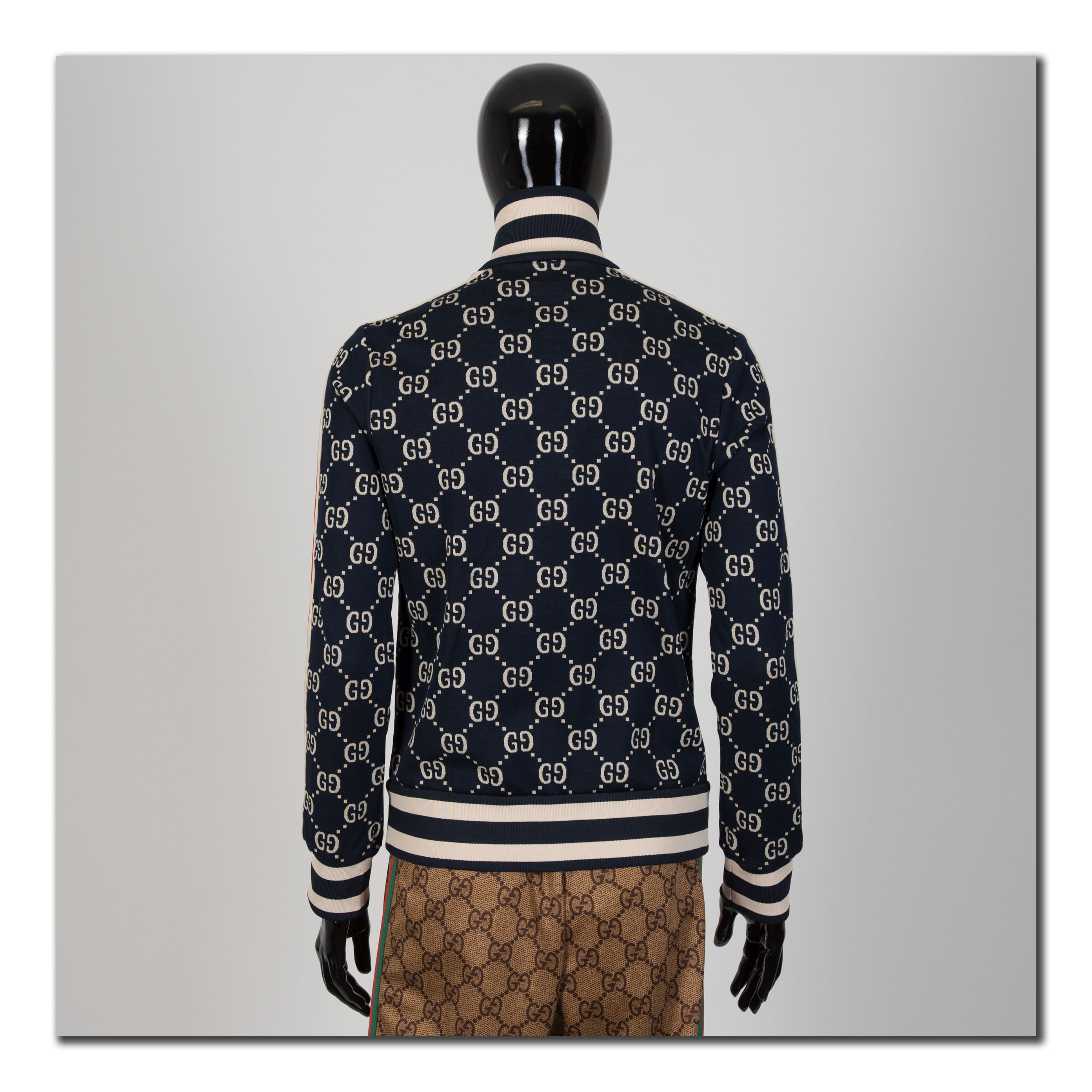 a215f141e Details about GUCCI 1980$ Authentic New GG Jacquard Cotton Zip Up Jacket