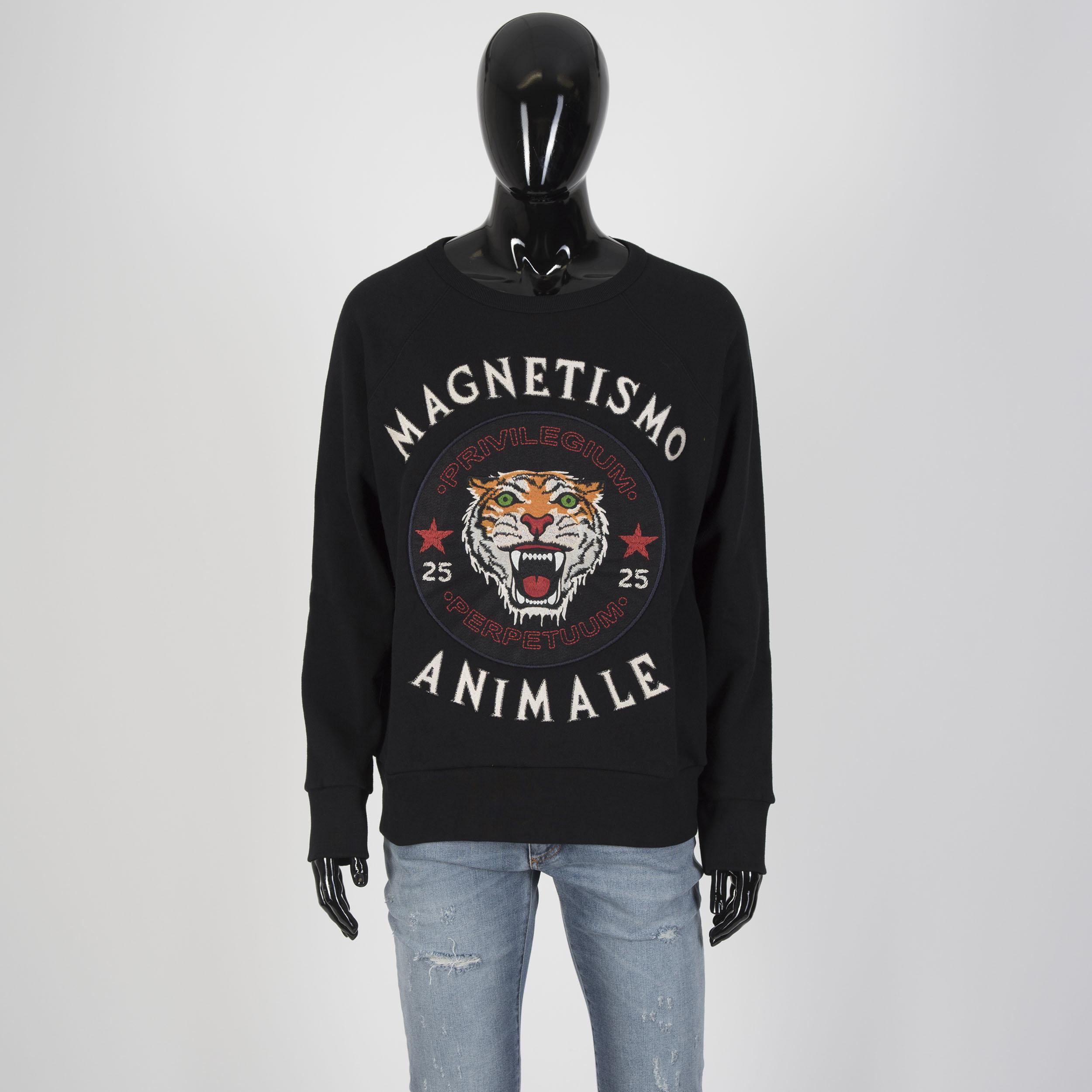 861ff166ec4 Details about GUCCI 1450  Magnetismo Animale Crewneck Sweatshirt In Black  Cotton