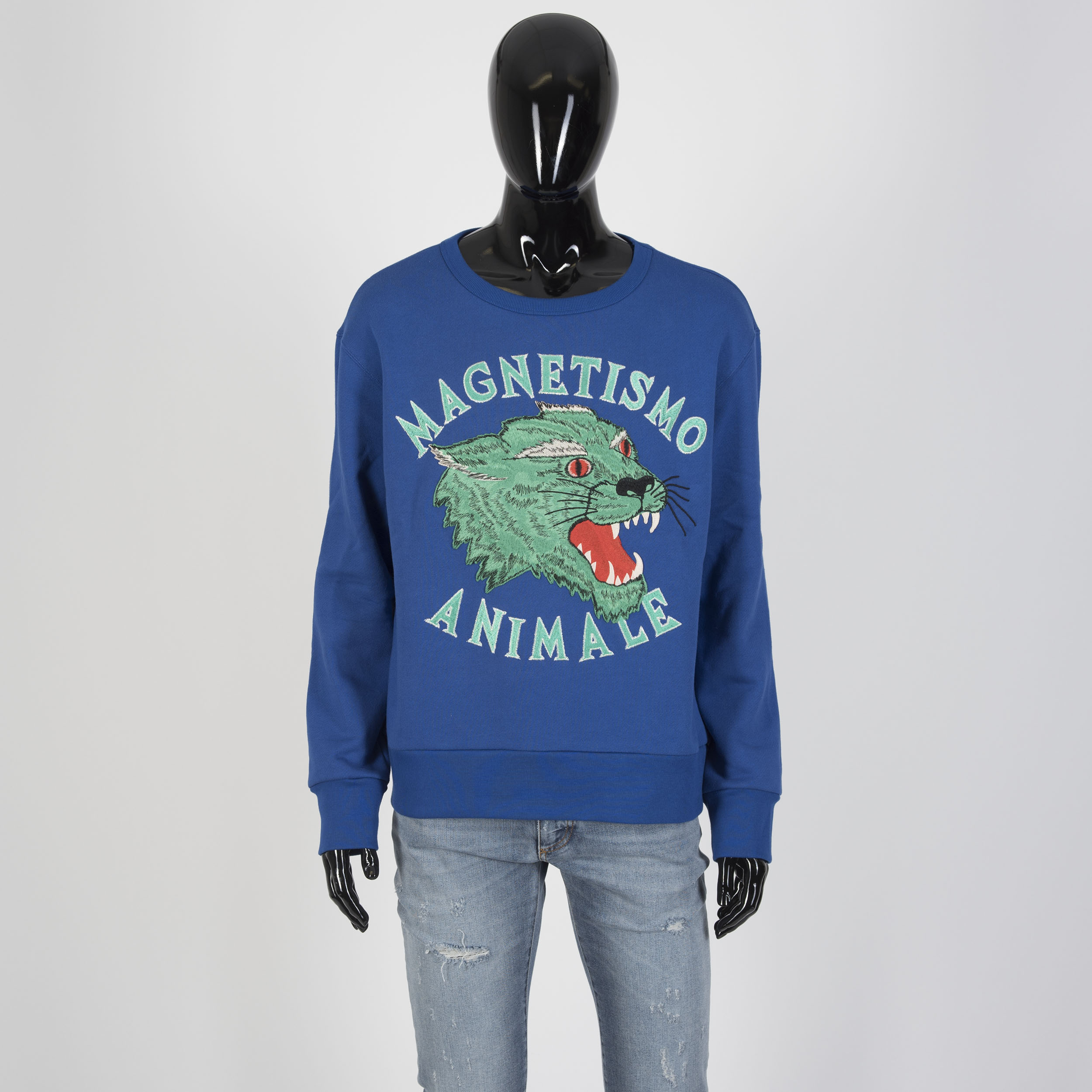 e492ddbaa11 Details about GUCCI 1450  Magnetismo Animale Crewneck Sweatshirt In Blue  Cotton