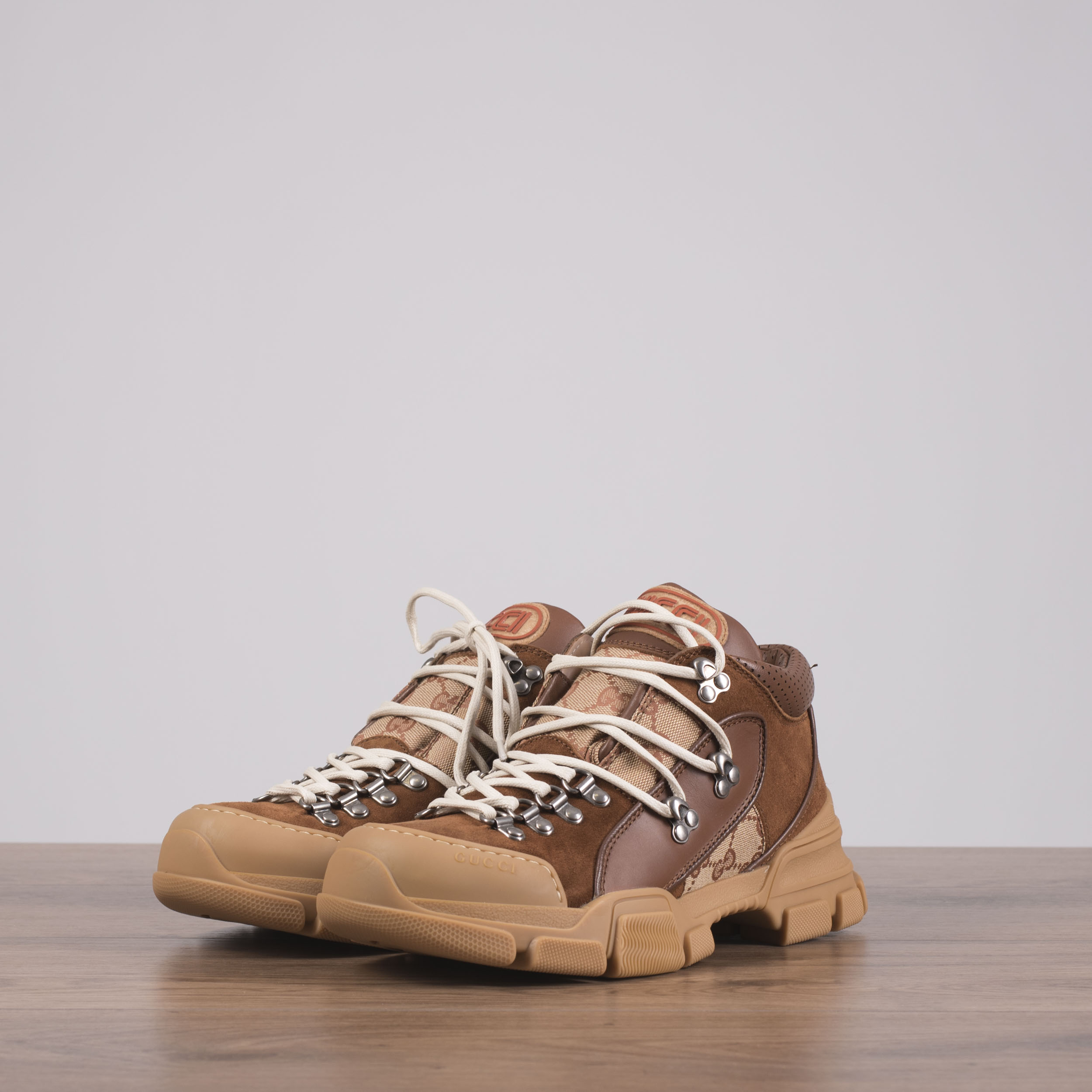 1bc5ba4a2 Details about GUCCI x SEGA 980$ Flashtrek Sneakers In Brown GG Canvas,  Leather & Suede