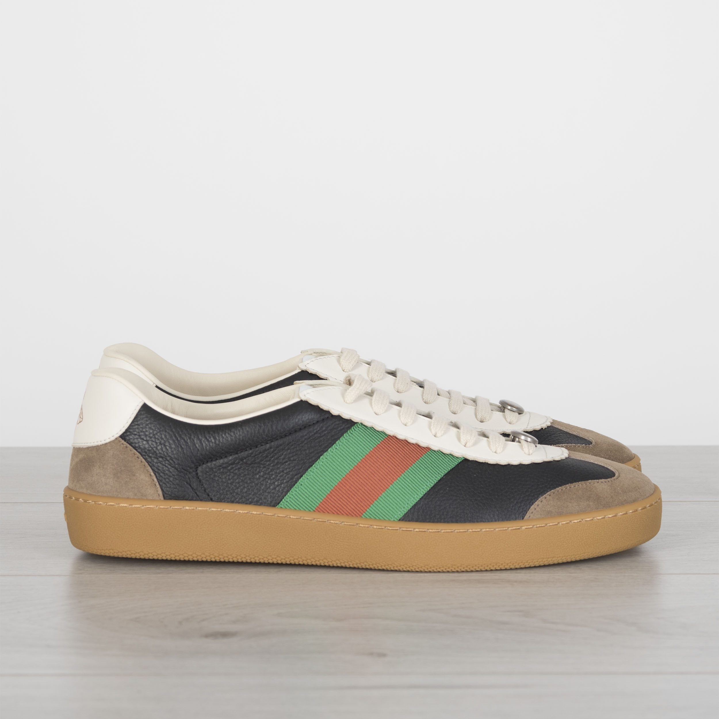 f9d517a4154 Details about GUCCI 650  G74 Sneakers With Web In Black Leather