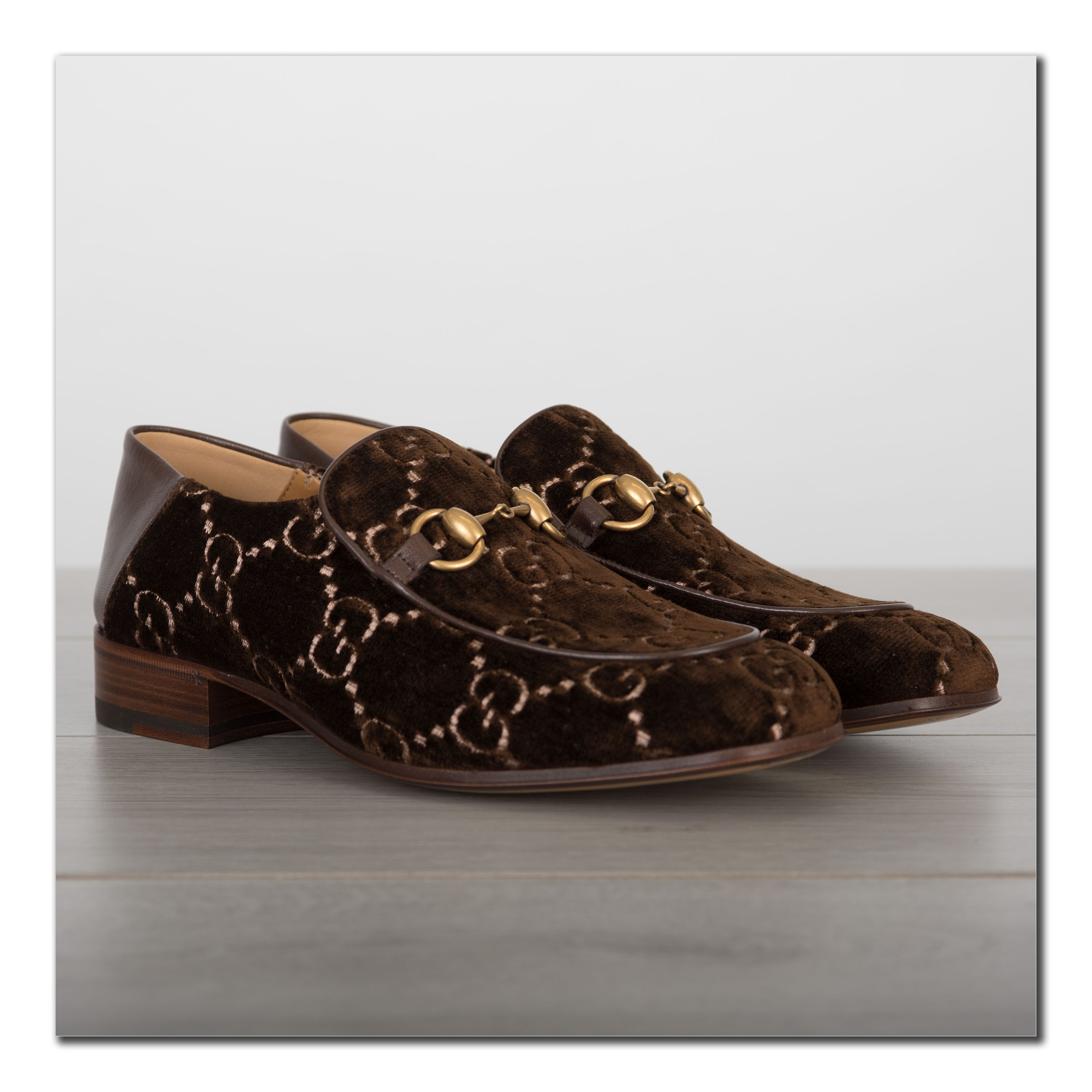 74311f71209 Details about GUCCI 850  Authentic New Horsebit Loafers In GG Brown Velvet With  Foldable Heels