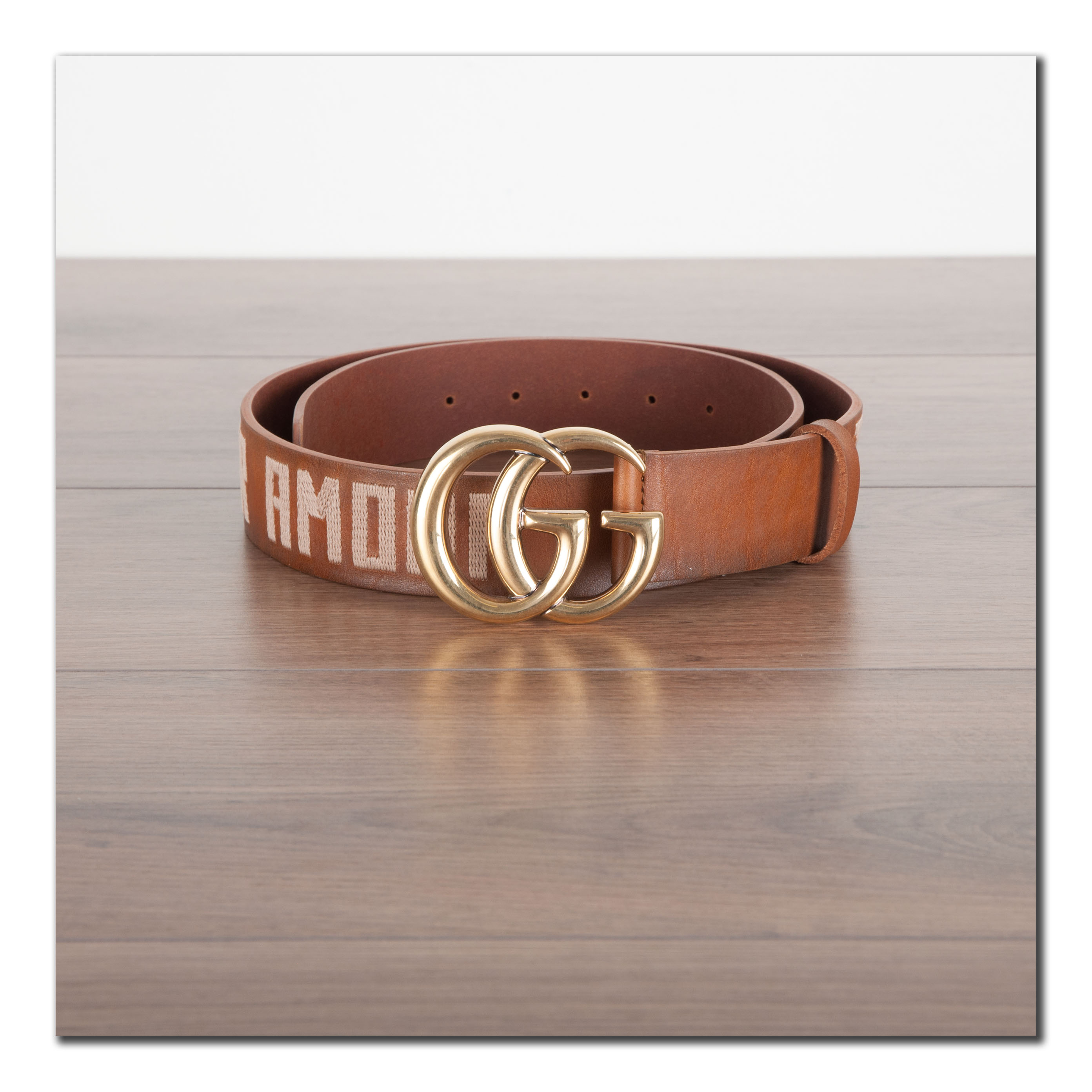 9f26ecea2b9 Details about GUCCI 790  Authentic New Brown Leather Belt With Double G  Buckle   Embroideries