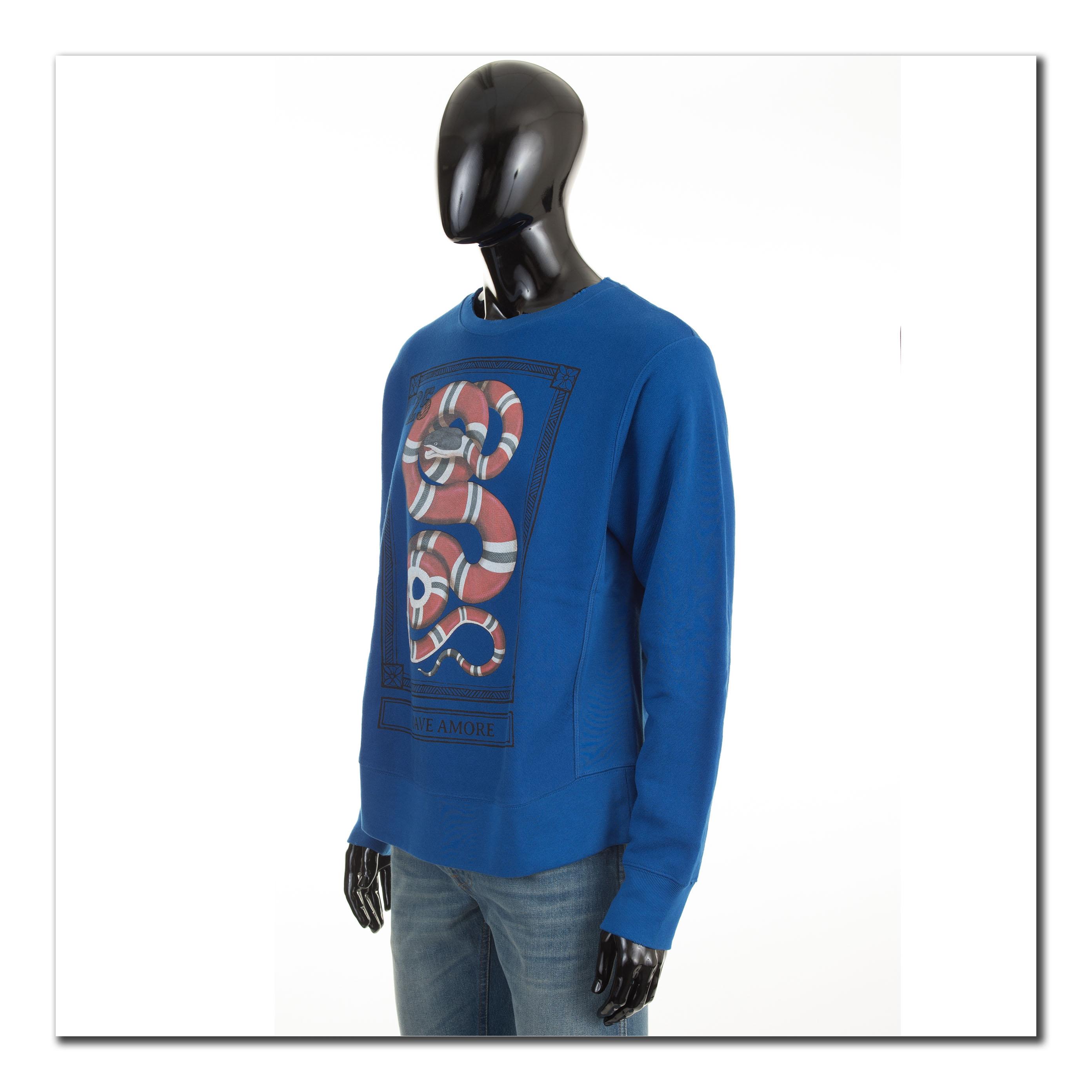 c16133d565ec GUCCI 890$ Authentic New Blue Cotton Sweatshirt With Kingsnake Print ...