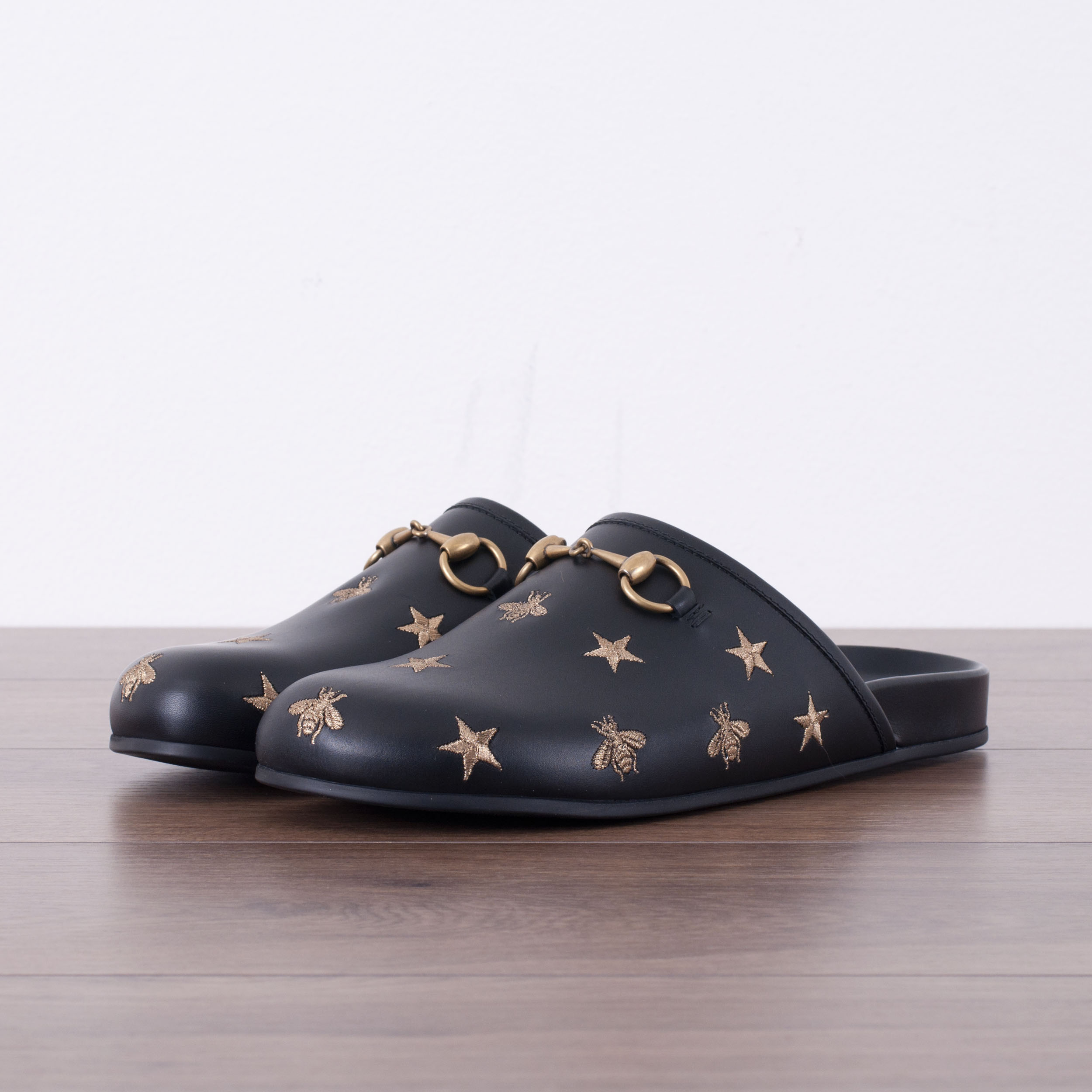 bb1ff86c2bf51 Details about GUCCI 695$ Authentic New Horsebit Embroidered Leather Slipper