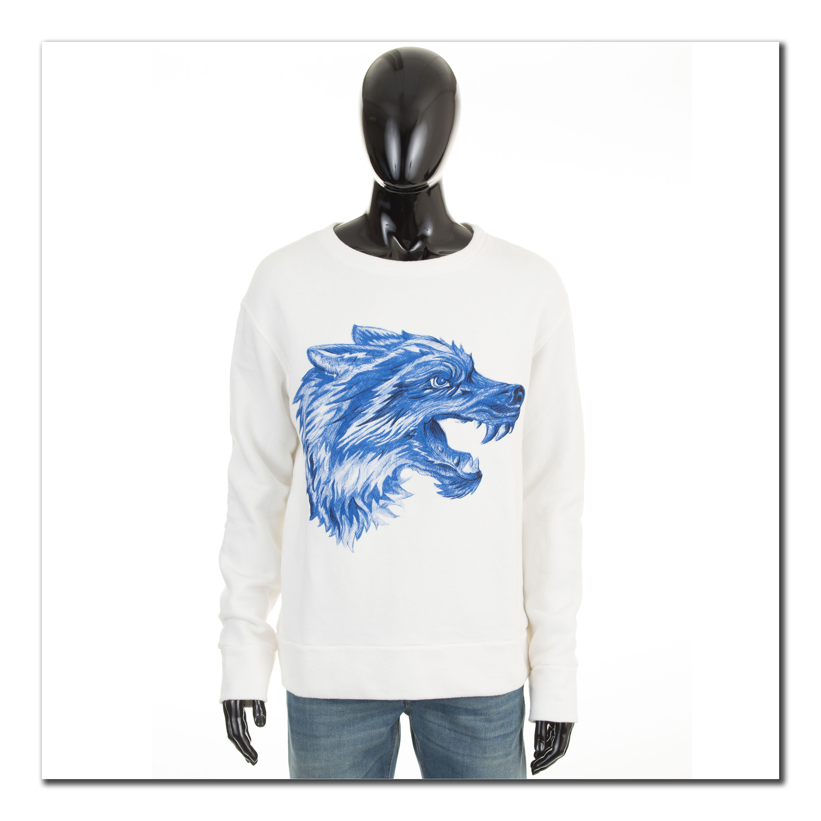 4c7263245de GUCCI 1190  Authentic White Cotton Crewneck Sweatshirt With Wolf ...