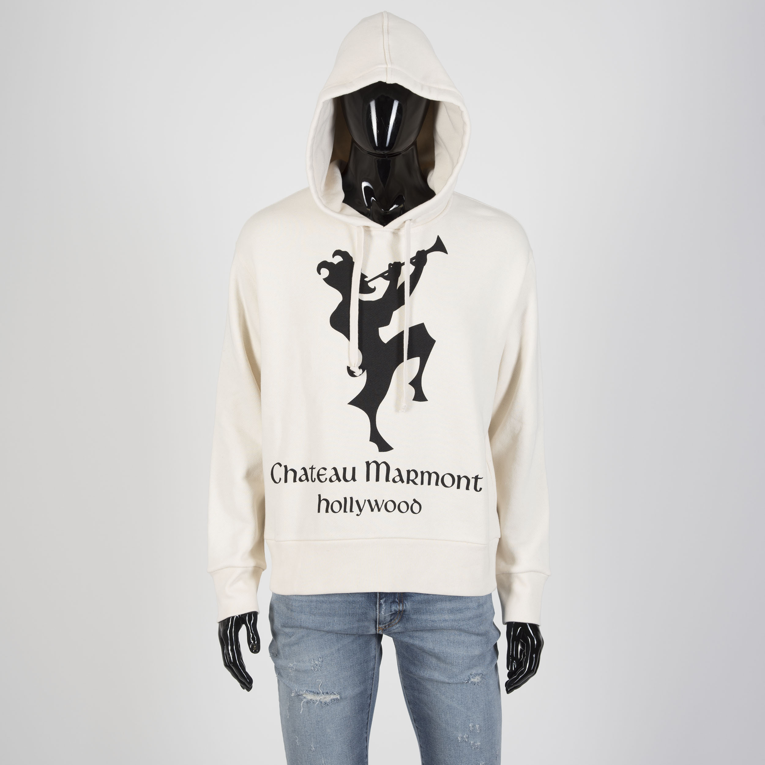 3f1a908c42a9 GUCCI 1400$ Chateau Marmont Hollywood Print Hooded Sweatshirt In Off ...