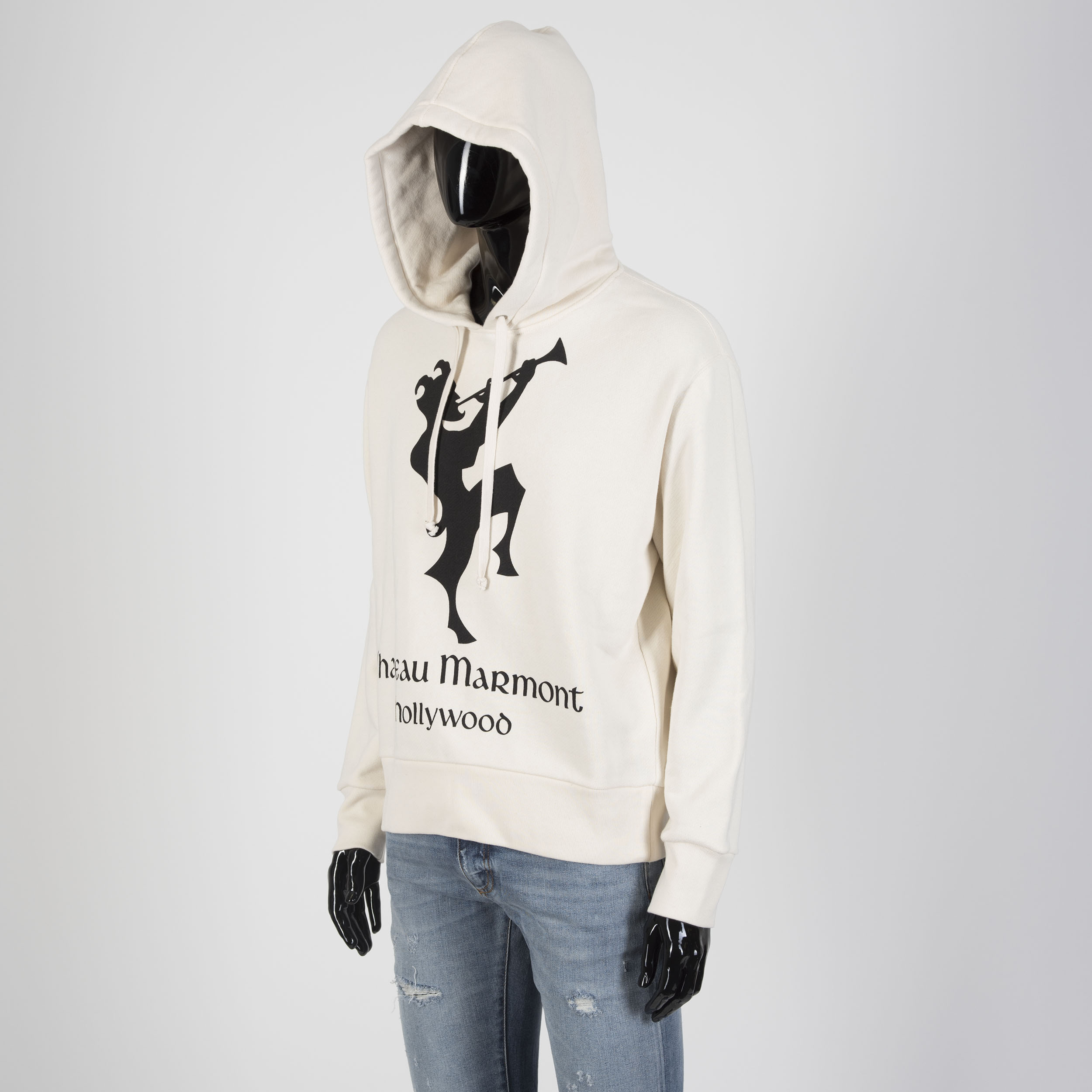 6926bbda75fc Details about GUCCI 1400$ Chateau Marmont Hollywood Print Hooded Sweatshirt  In Off White
