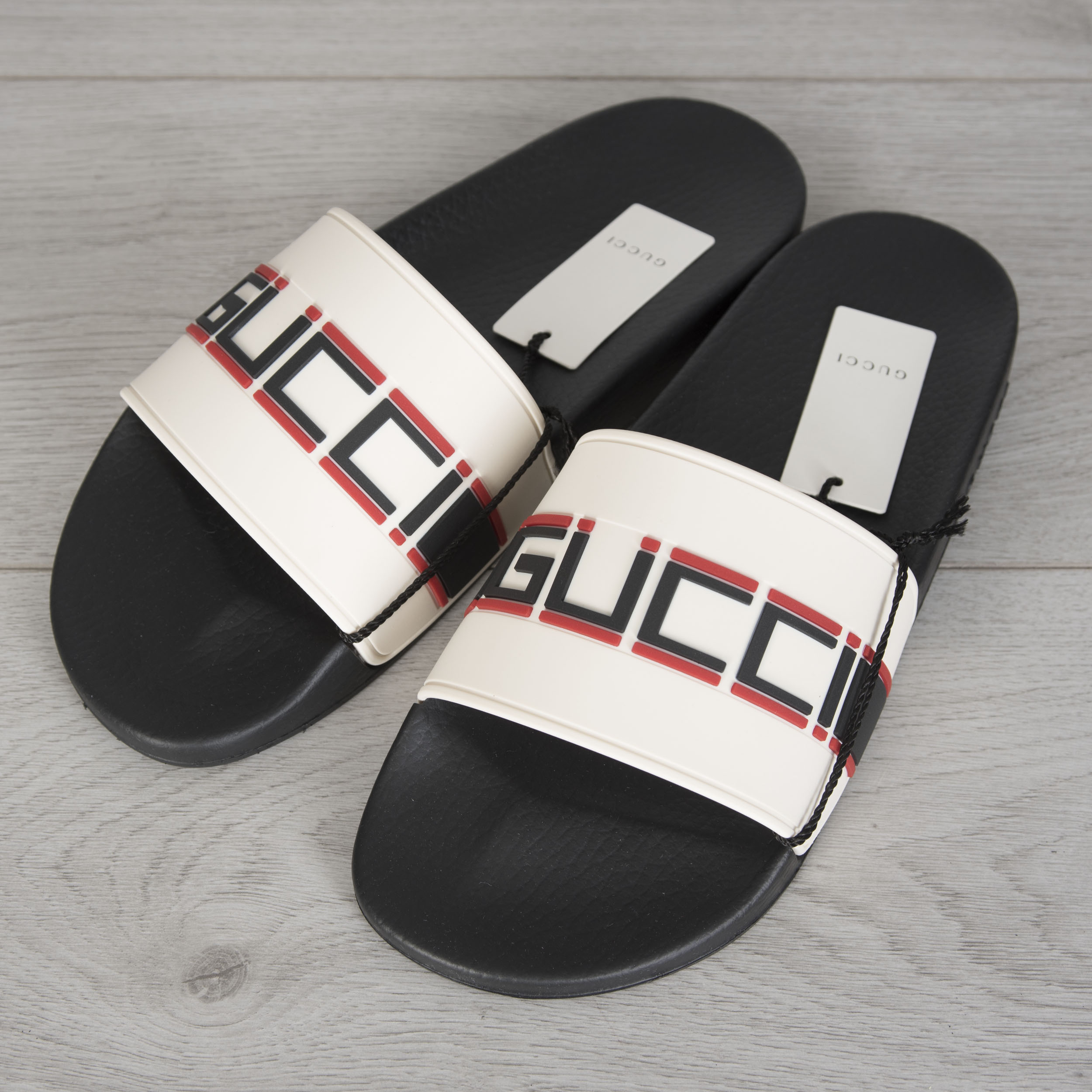 10bd30b1f127 Details about GUCCI 290  Men s Slide Sandals In White Striped Rubber With  Black   Red Logo
