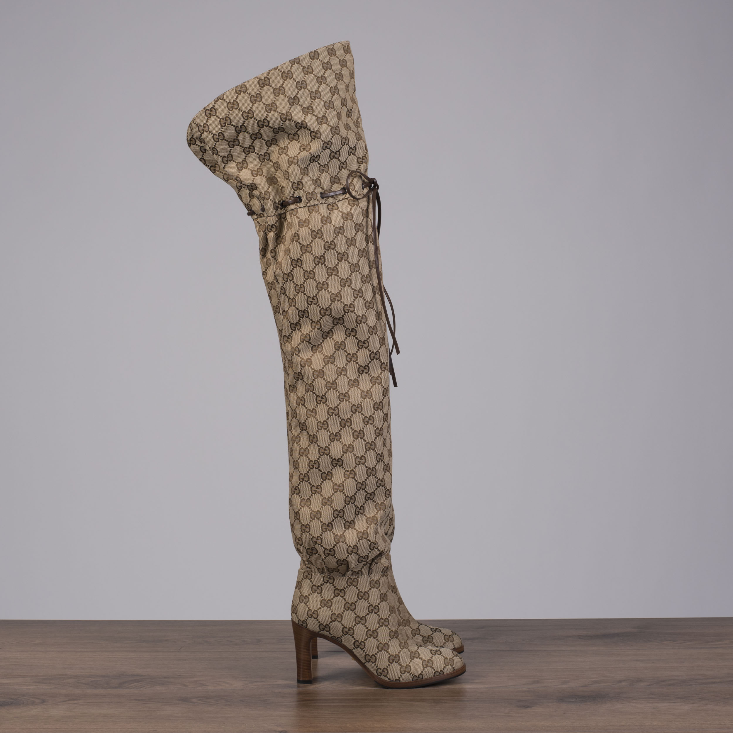 0299ac4c93d GUCCI 1790  Lisa Original GG Canvas Over-The-Knee Boots