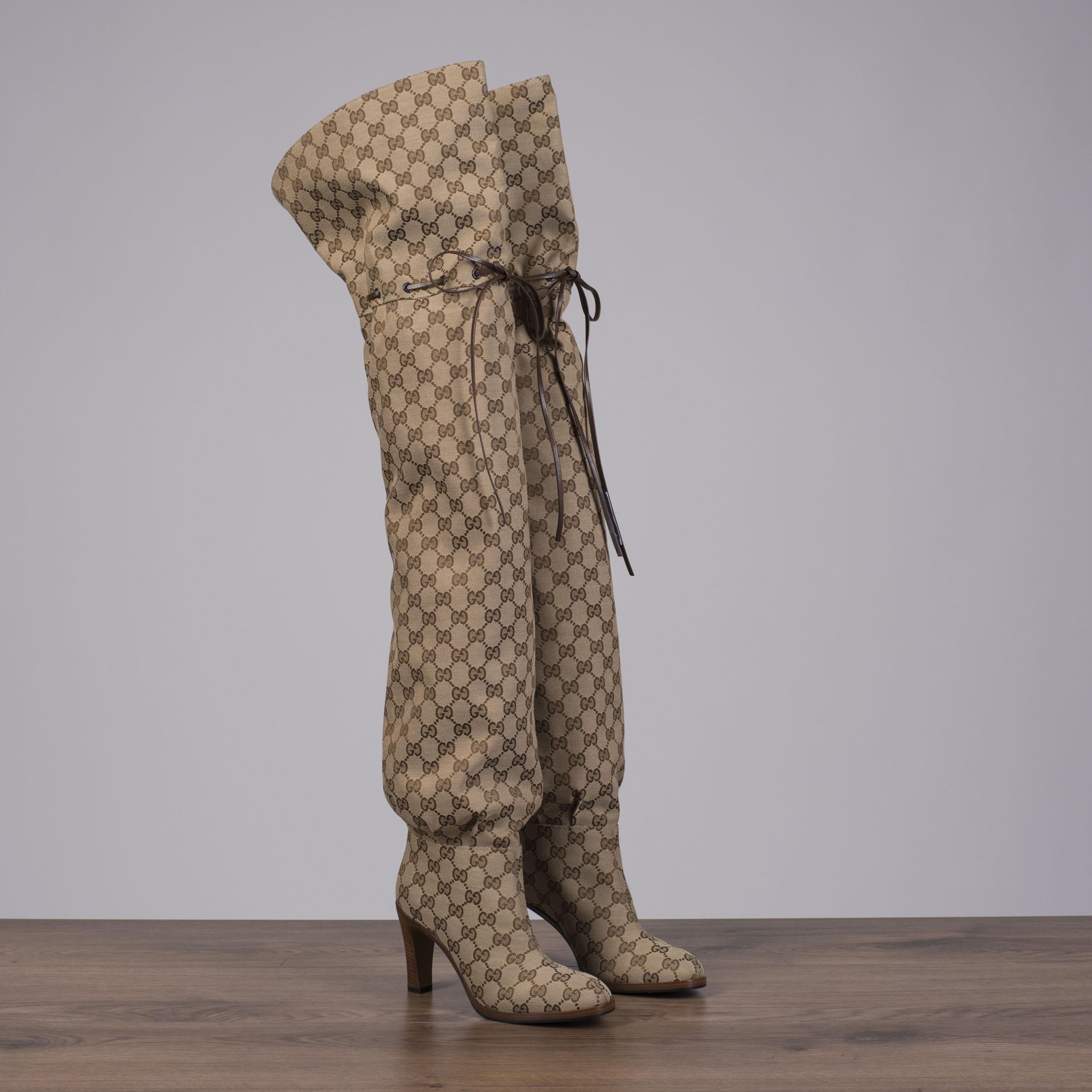 da3a4fd7b660 GUCCI 1790  Lisa Original GG Canvas Over-The-Knee Boots