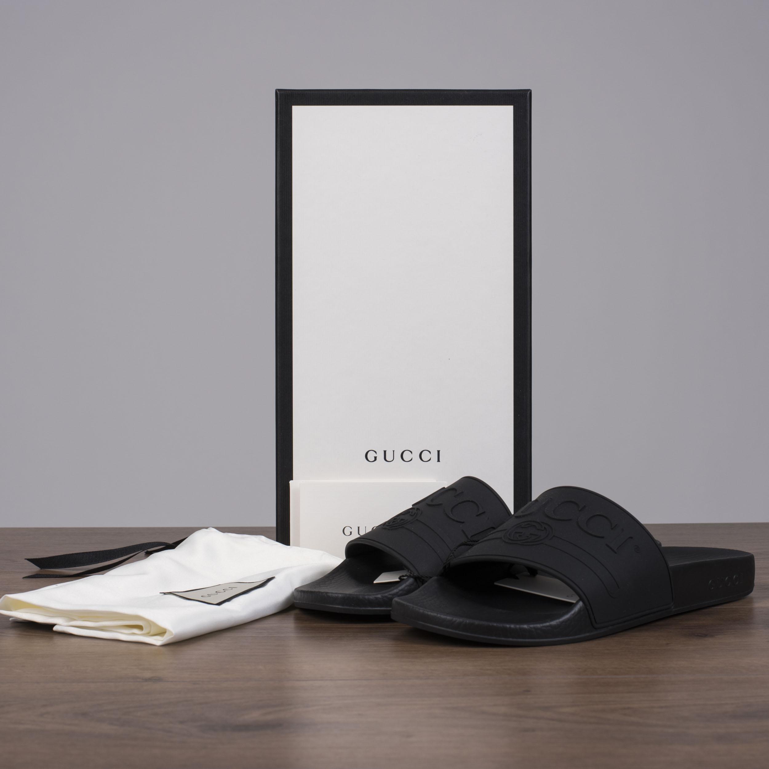 Details about GUCCI 250$ Women\u0027s Logo Slide Sandals In Black Rubber