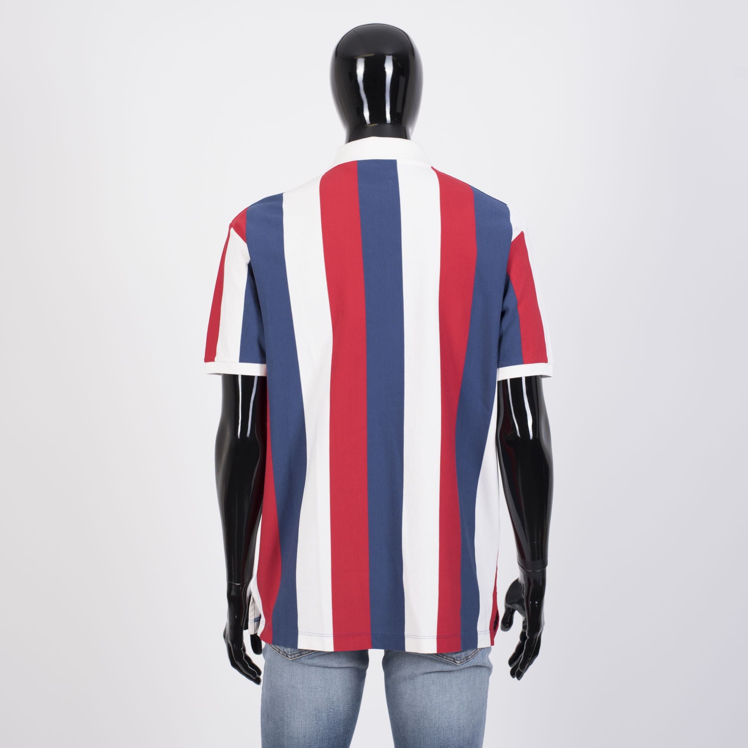 Gucci 850 Baiadera Logo Polo Shirt In White Blue Red Striped