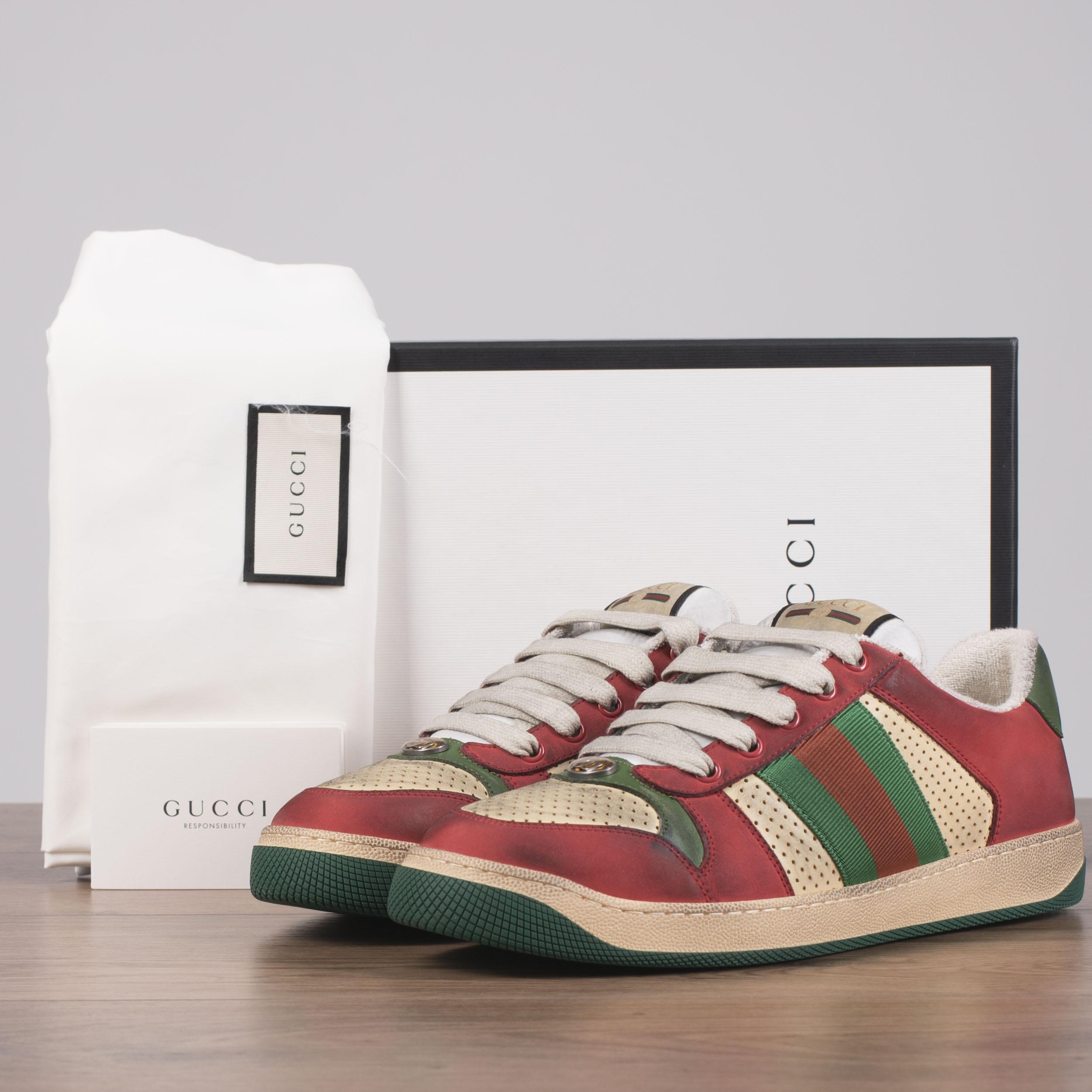 5941922edb1 GUCCI 870  Screener Sneakers In Beige   Red Distressed Vintage ...