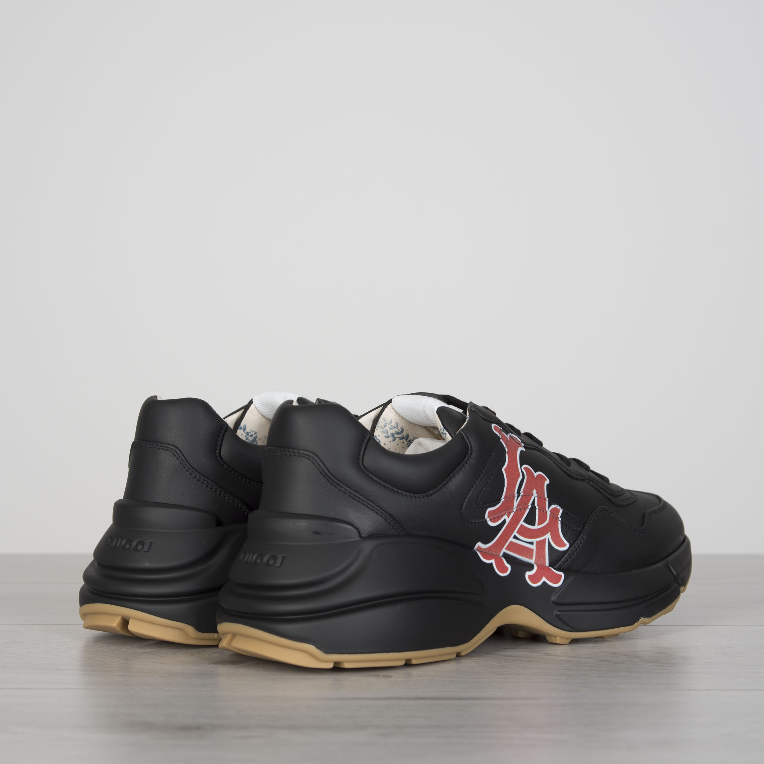 4dda521d9 Details about GUCCI 890$ Men's Rhyton Sneakers With LA Angels Print In Black  Leather