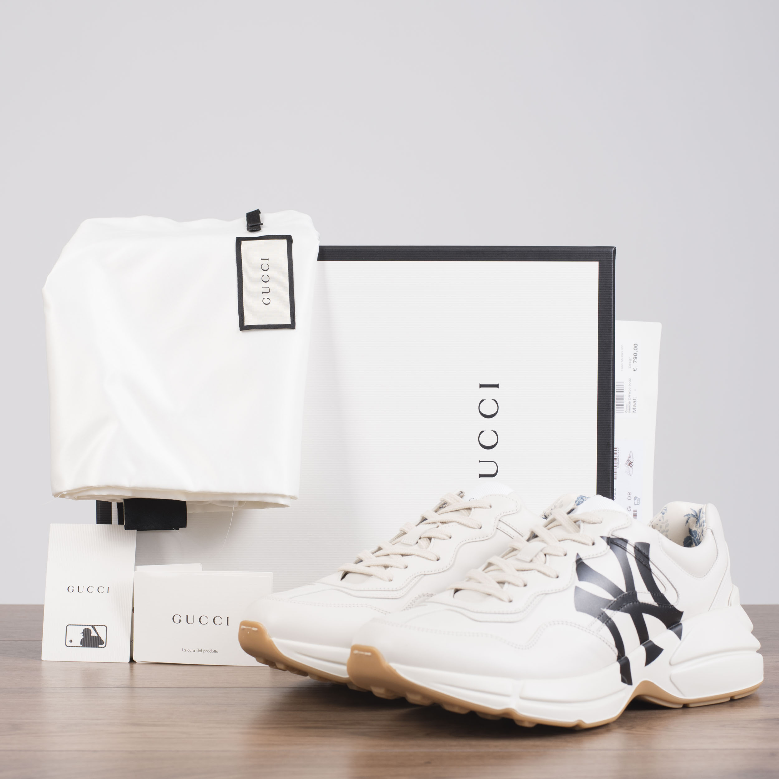 9da85547a53 Details about GUCCI 890  Men s Rhyton sneaker with NY Yankees™ print In White  Leather