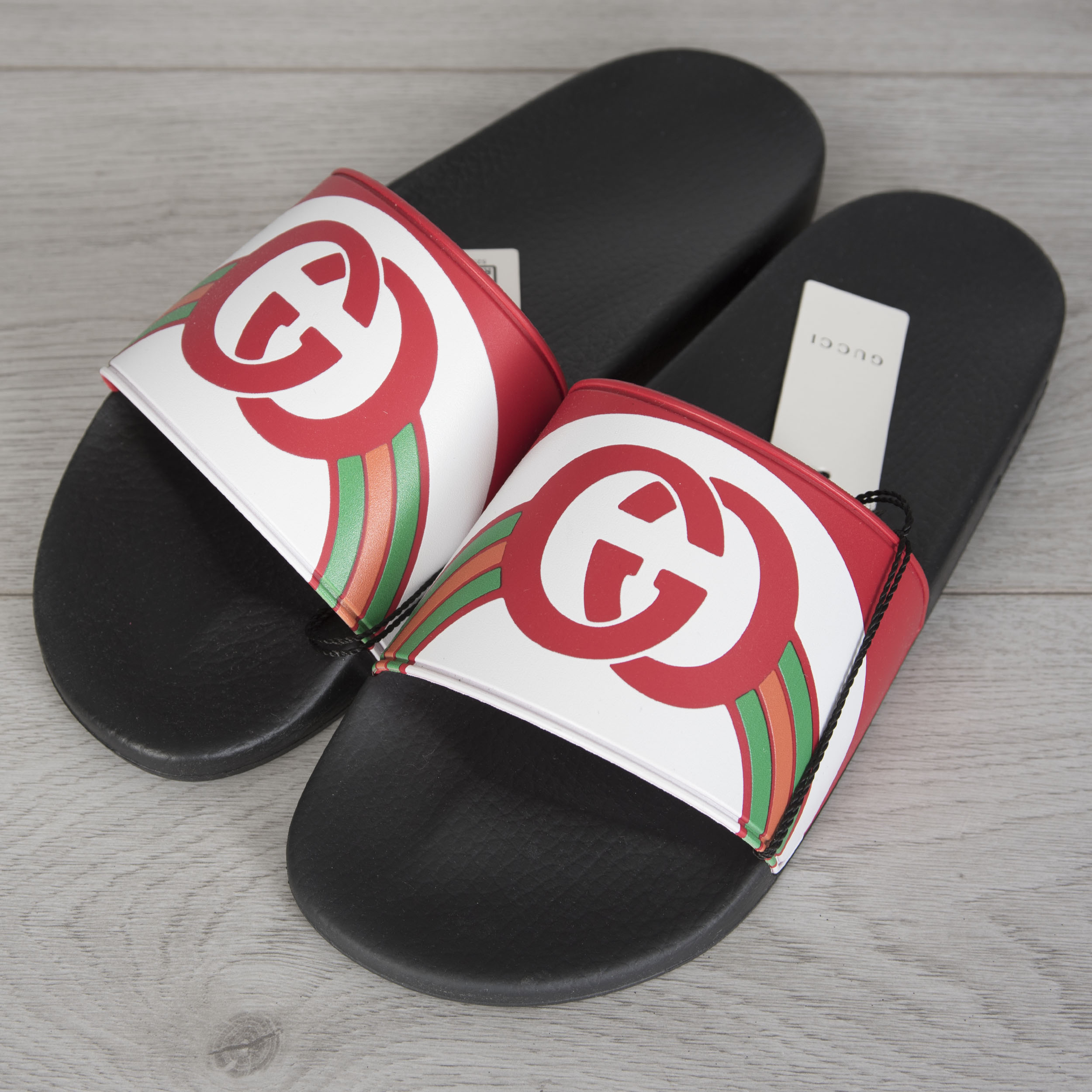 9a8932b9015f Details about GUCCI 290  Men s Slide Sandals In White Striped Rubber With  Red GG Logo
