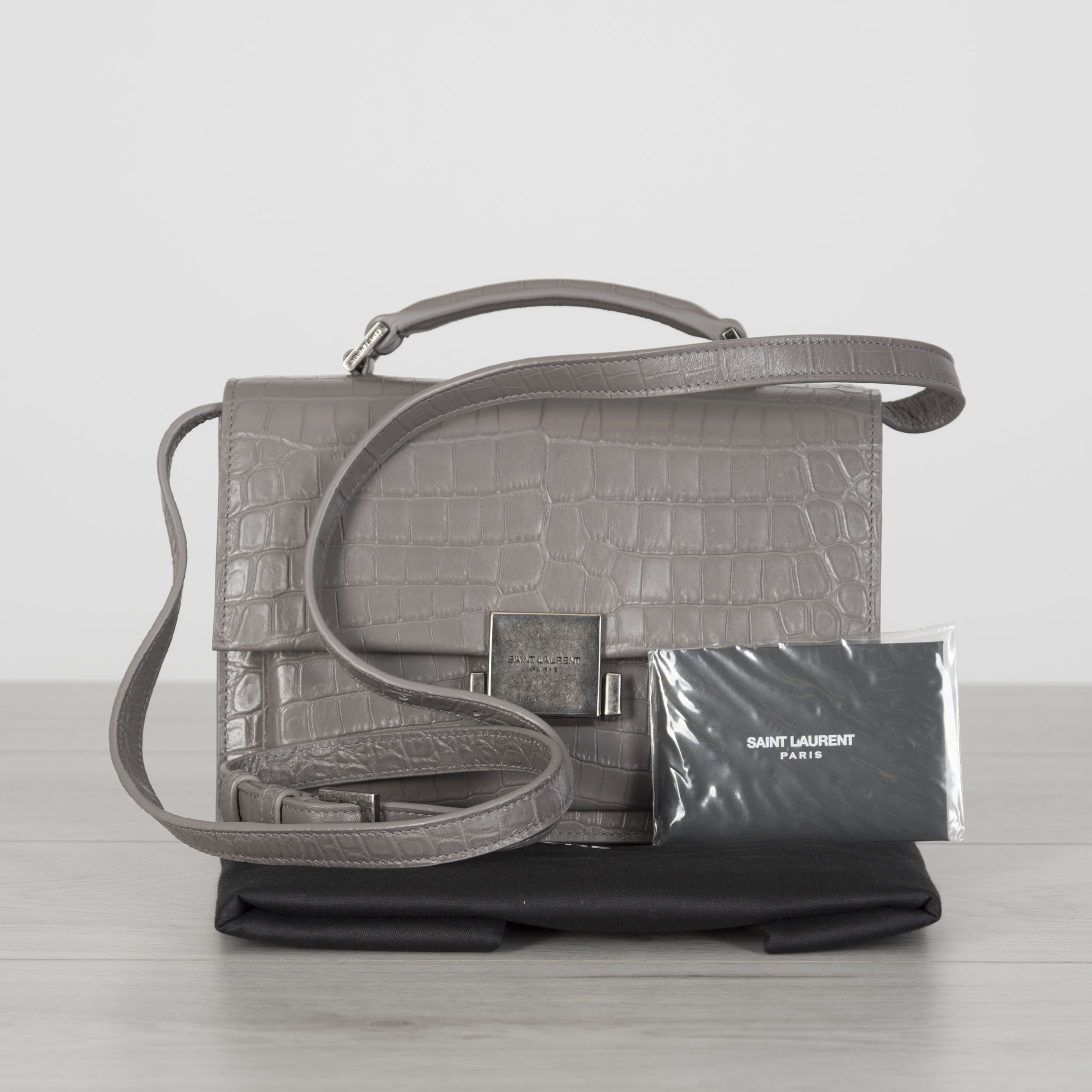 184eac092a Details about SAINT LAURENT 2090$ Fog Grey Crocodile Embossed Leather Medium  Bellechasse Bag