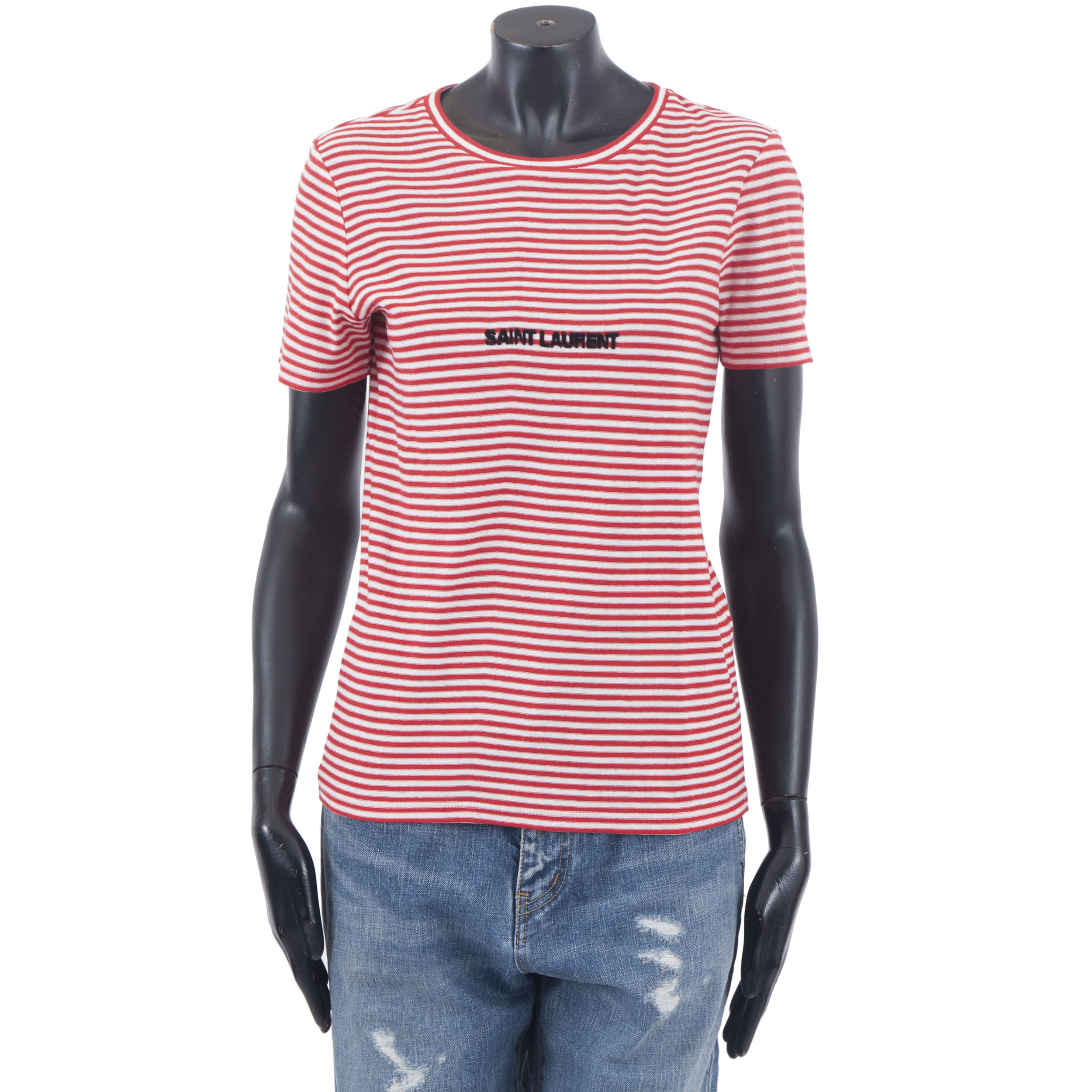 4fea5ec8d11 Details about SAINT LAURENT PARIS 490$ Authentic New Red & White Striped  Cotton Logo Tshirt