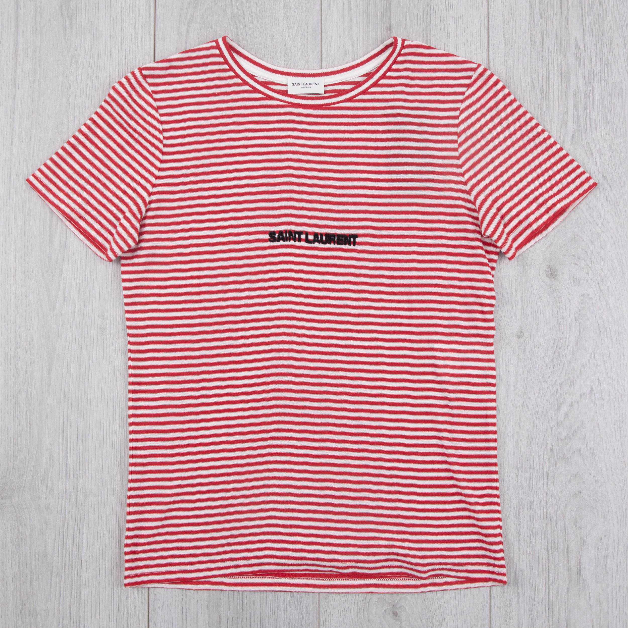 a5167275ee4 SAINT LAURENT PARIS 490$ Authentic New Red & White Striped Cotton ...